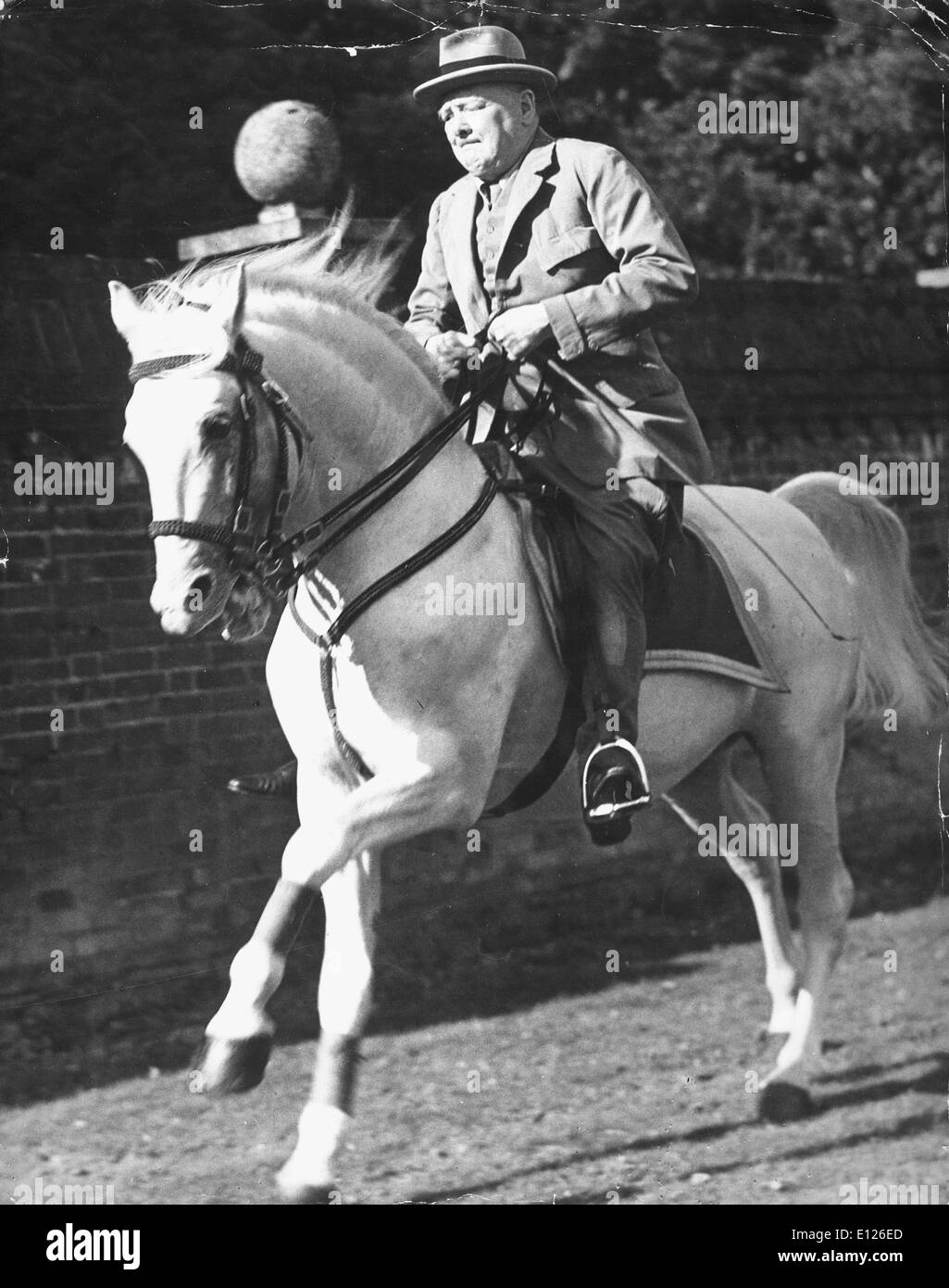 Nov 19, 2007 - London, England, UK - British PM WINSTON CHURCHILL riding horse .co - Stock Image