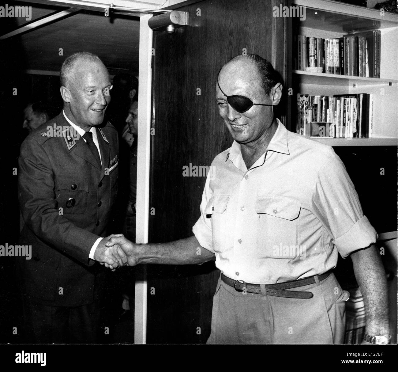 Apr 01, 2009 - London, England, United Kingdom - MOSHE DAYAN, (20 May 1915 Ð 16 October 1981) was an Israeli military leader and politician. The fourth Chief of Staff of the Israel Defense Forces (1953Ð1958), he became a fighting symbol to the world of the new State of Israel. He went on to become Defense Minister and later Foreign Minister of Israel. Dayan was using binoculars they were struck by a French bullet, propelling metal and glass fragments into his left eye and causing it severe damage. Dayan lost the eye and he was forced to adopt the black eyepatch that became his trademark - Stock Image