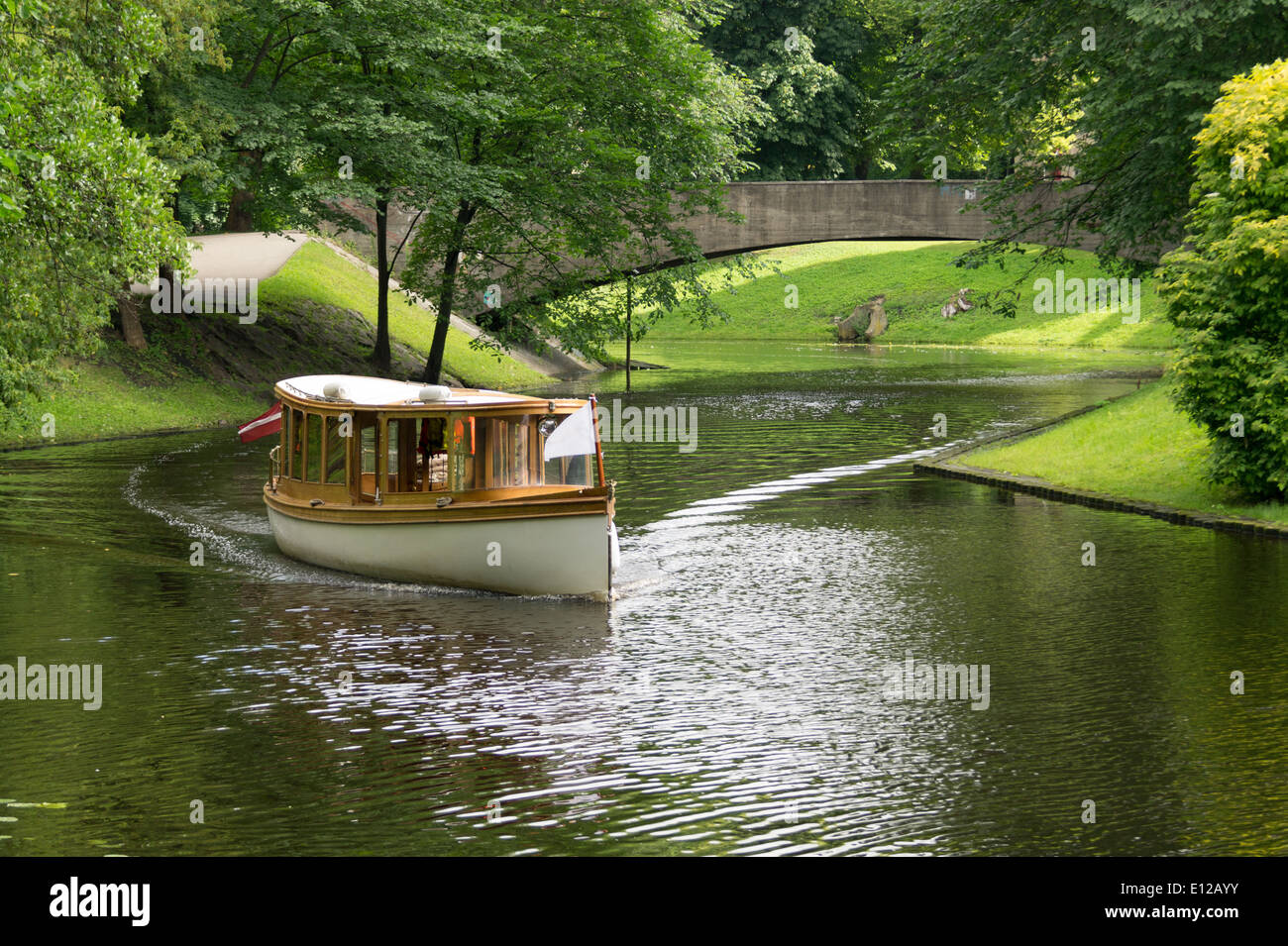 River boat on a cruise in Riga, Latvia on a sunny summer day. - Stock Image