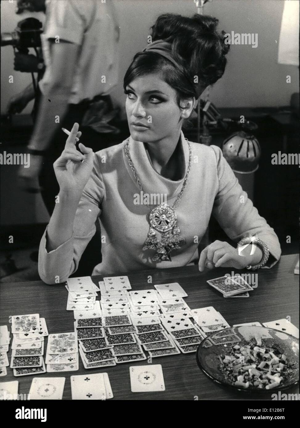 Dec. 09, 2011 - Rome, April 1968. Beautiful Austrian actress Marisa Mell seen in a scene of the film Stuntman worked in the Hilton Hotel in Rome, playing a solitaryà - Stock Image