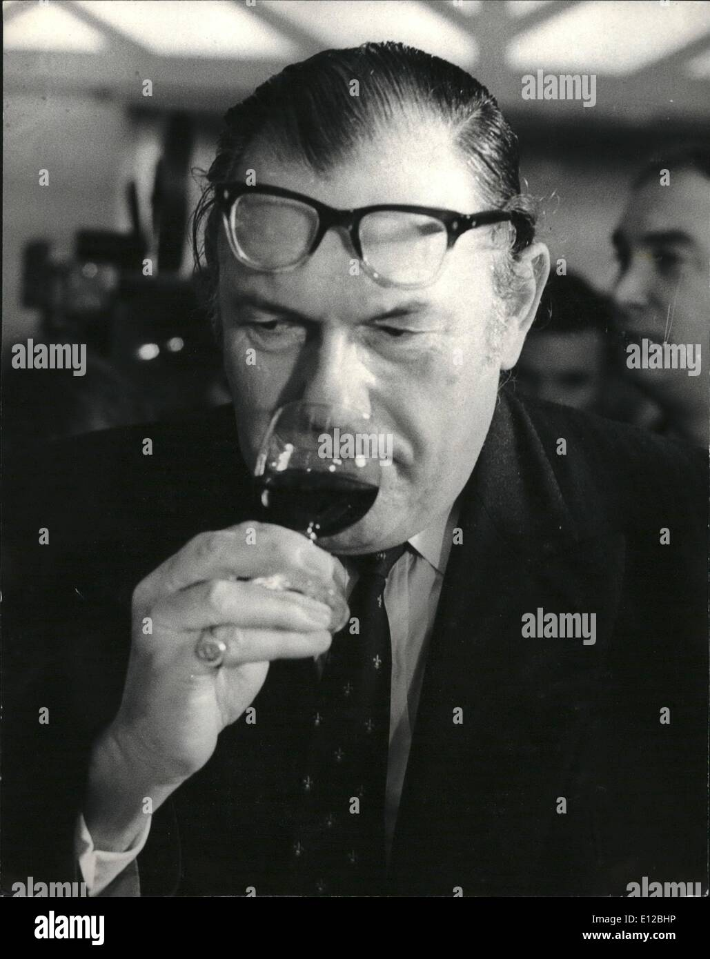Dec. 09, 2011 - December 21st 1971 The Home Secretary Competes In The Final Of The Wine Taster Of The Year Competition – - Stock Image