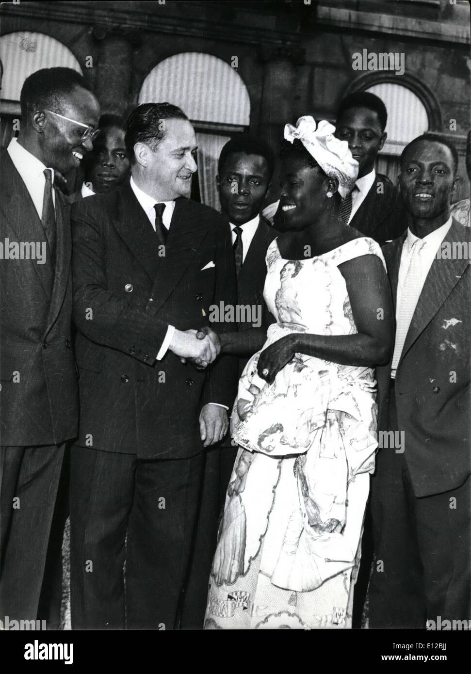 Dec. 09, 2011 - Black Chiefs at Elysee Palace. The Black Chiefs who are attending the Bastille Day celebrations were received by President Coty today. OPS: M. Bourges Maunoury, Prime Minister , Chatting with MME Anne Marie Bassam, from Ivory Coast town council. July 13/57 - Stock Image