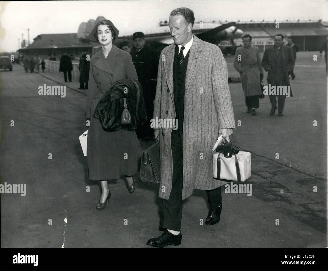 Dec. 16, 2011 - Earl of Dalkeith and his wife photographed on arrival at Orly Airfield this afternoon. - Stock Image