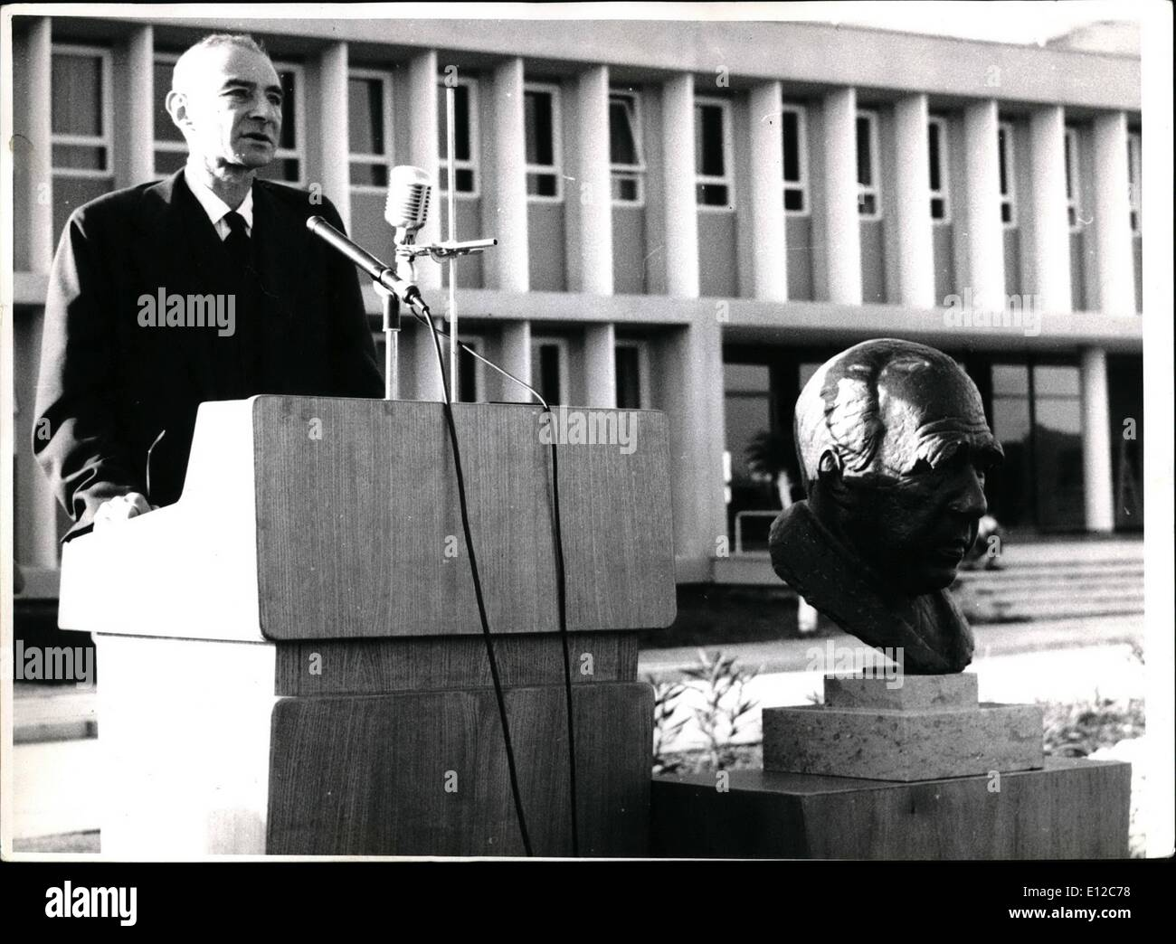 Dec. 12, 2011 - Inauguration of Nuclear Physics Institute in Israel. Prof. Robert Openheimer speaking at the ceremony Stock Photo