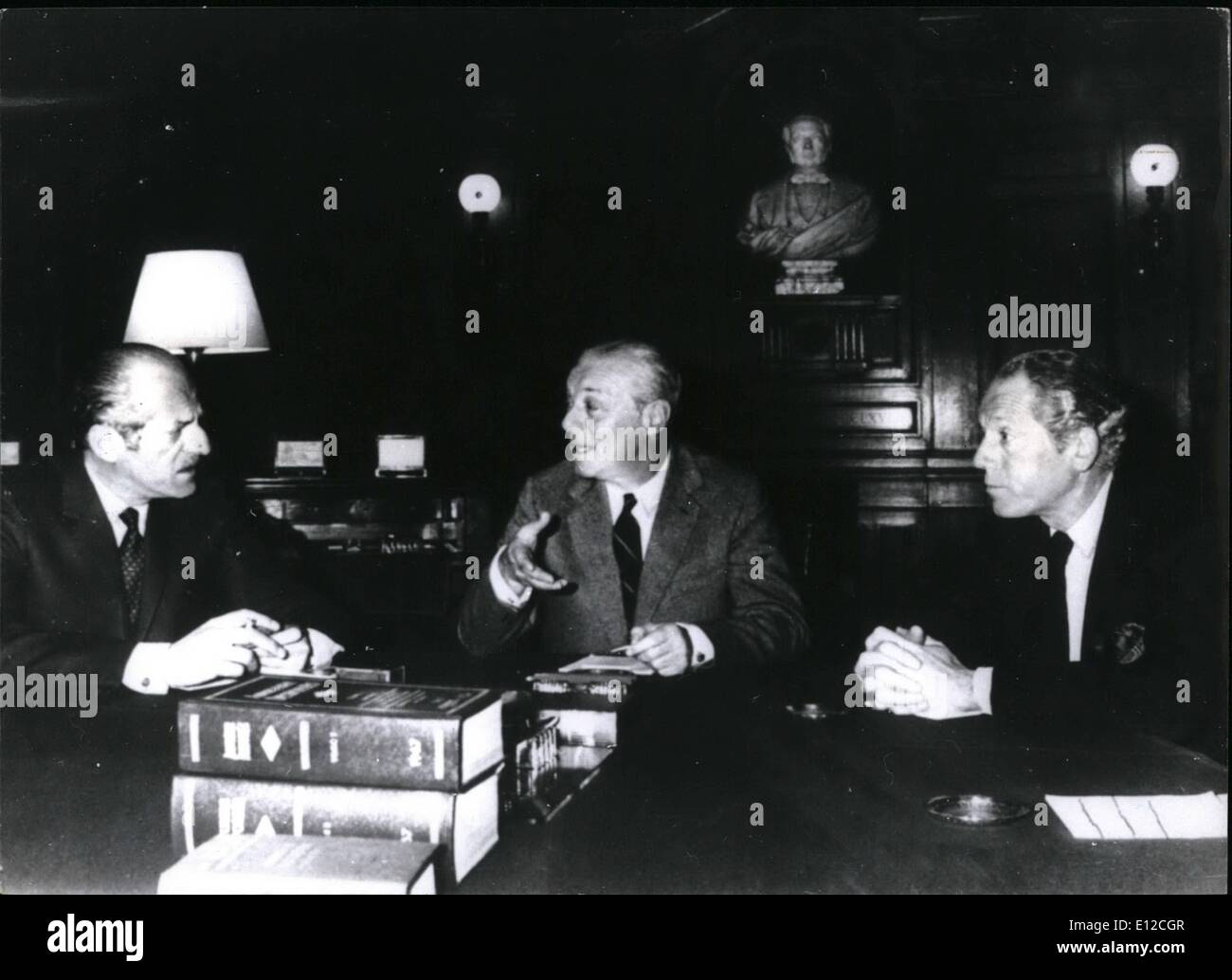 Dec. 12, 2011 - Banking lords of the 20th century, left to right, Baron Elie de Rothschild, Baron Guy de Rothschild and Alain. - Stock Image