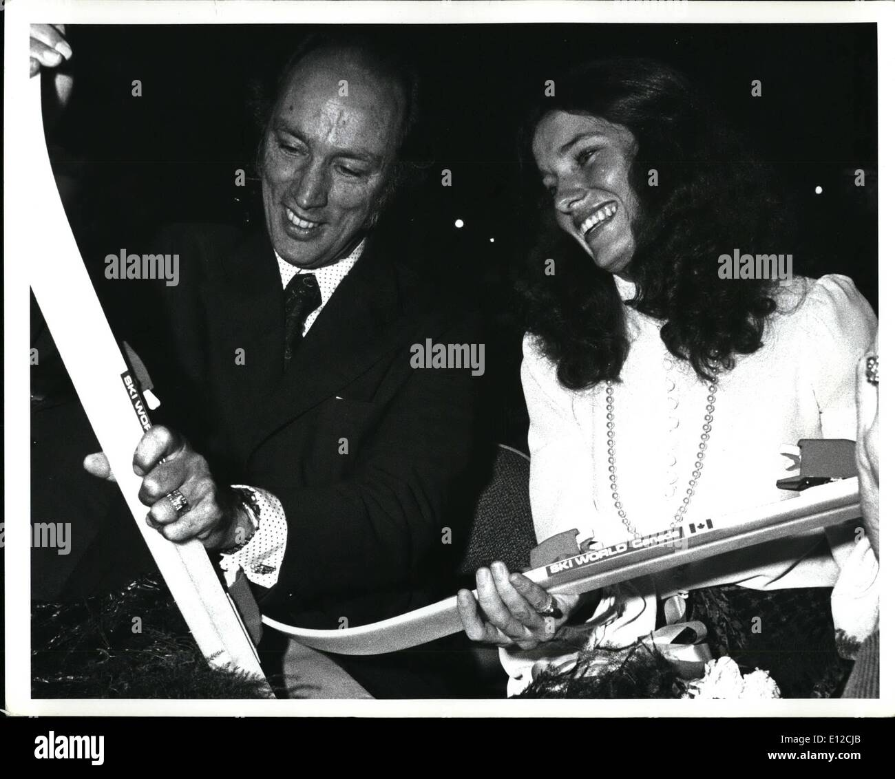 Dec. 12, 2011 - Enclosed is a photograph of Prime Minister Pierre Trudeau and his wife, Margaret, taken September 23, 1972 in Vancouver. They are holdings a pair of skis for their son, Justin, presented at the mulch-culture evening of entertainment. - Stock Image