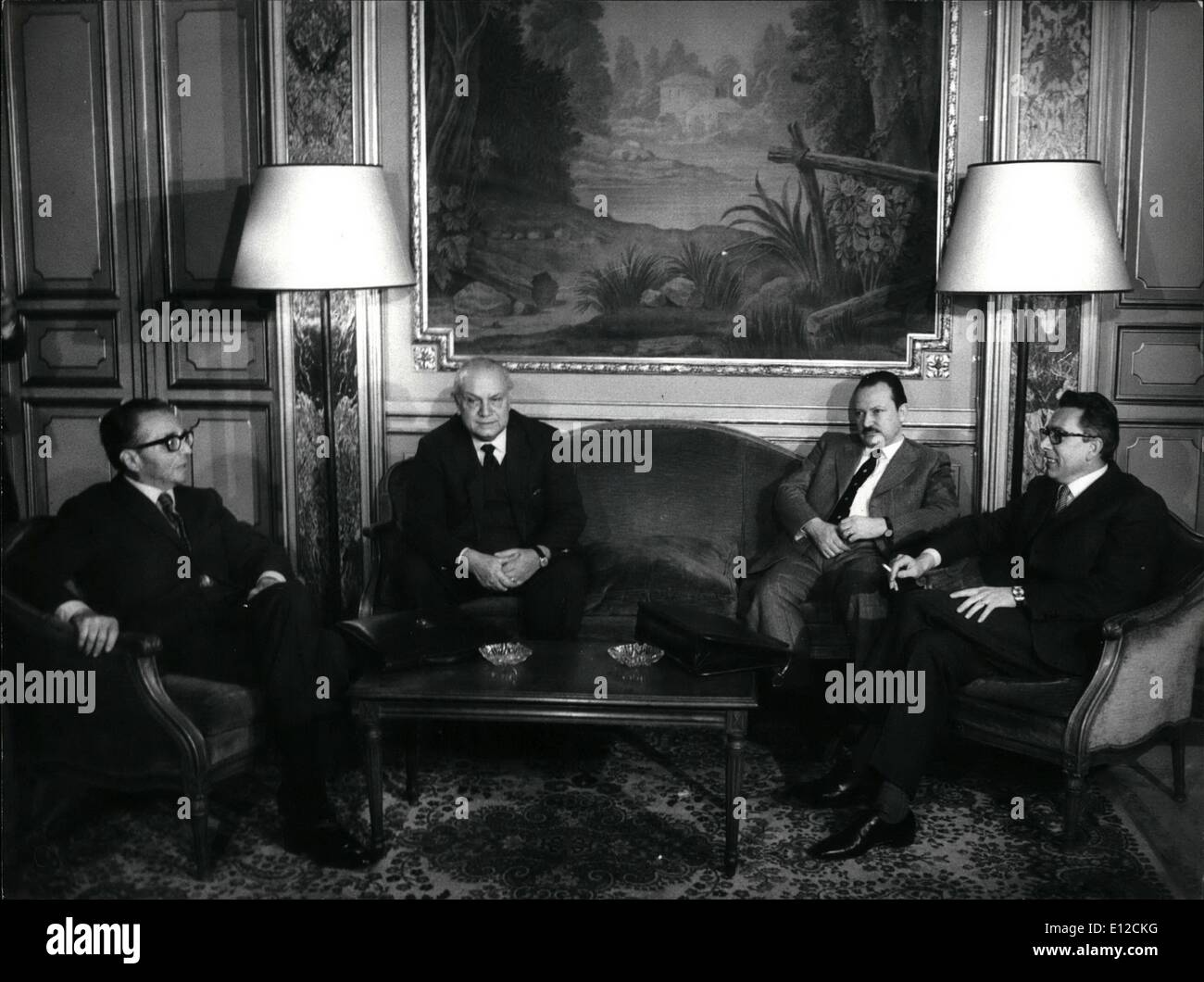 Dec. 12, 2011 - The leaders of the four democratic parties were not to try to take again the center left government coalition. they are, from left Ugo La Malfa of PRi (Republicans); Francesco De Martino of PSI (Socialists); Fauro Ferri of PSU (Unitary Socialm) and Arnaldo Forlani of DC (Christian Democrats) - Stock Image