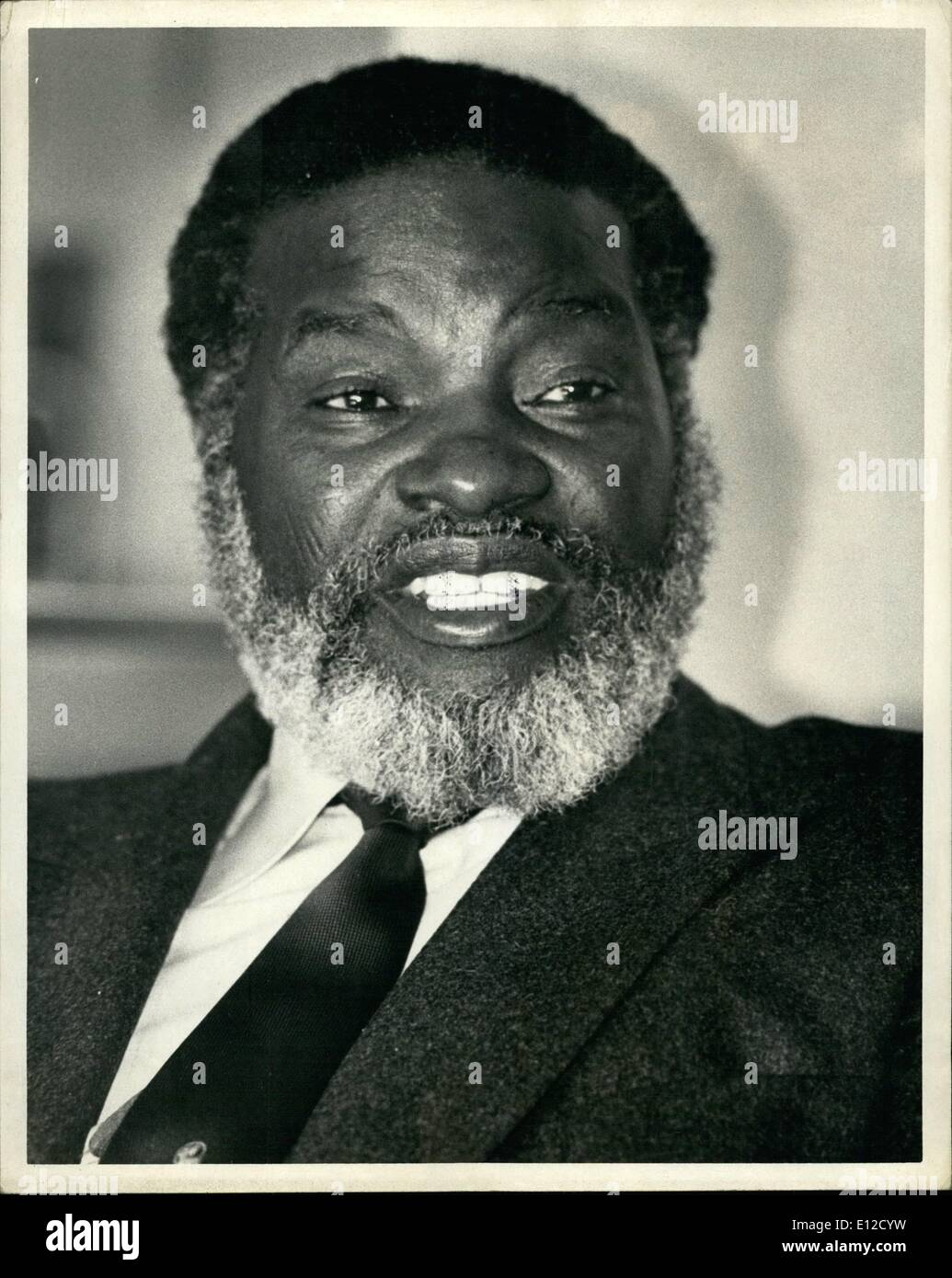 Dec. 14, 2011 - Guerrilla Leader Sam Nujoma, president of the South West Africa people's organization, said his men would continue to fight inside Namibia (South West Africa) while observing a recently condluded disengagement accord between Angola and South Africa. Mr. Nujoma, on the tail end of a trip that has taken him to six countries made his remarks during an interview at the United Nations Hotel in New York City. 'The fight in Namibia will continue, because there is no cease-fire in Namibia'' Mr. Nujoma said though he added that swapo was ready to sign a cease-fire with South Africa - Stock Image