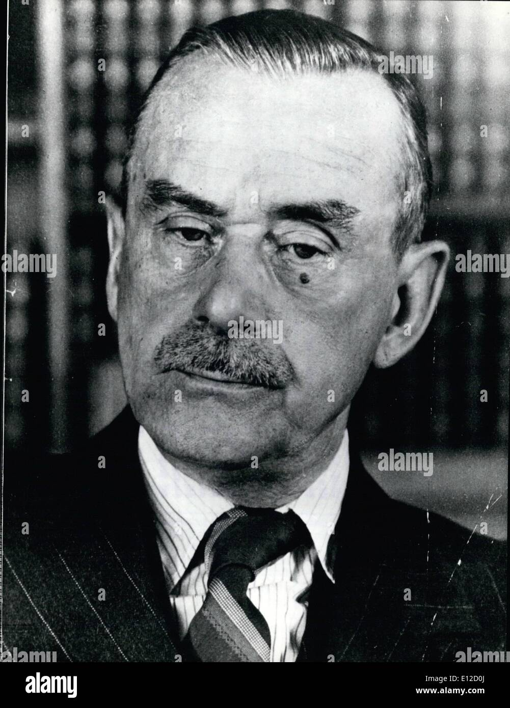 Dec. 14, 2011 - Birthday of Thomas Mann: Hundred years ago, on June 6th, 1875, author Thomas Mann (our picture) was born in Lubeck. mann, decended from an old middle class familly of Lubeck, became the leading intellectual representative of the middle classes of that time and was the initiator of modern style novel in Germany. His first successful work, 'Buddenbrooks', was published in 1901. In this novel Thomas Mann deals with the decline of middle classes and of health, as he did in many of his following stories and novels. ''Der Zauberberg'' (The magic mountain, ''Lotte in Weimar'', ''Dr - Stock Image