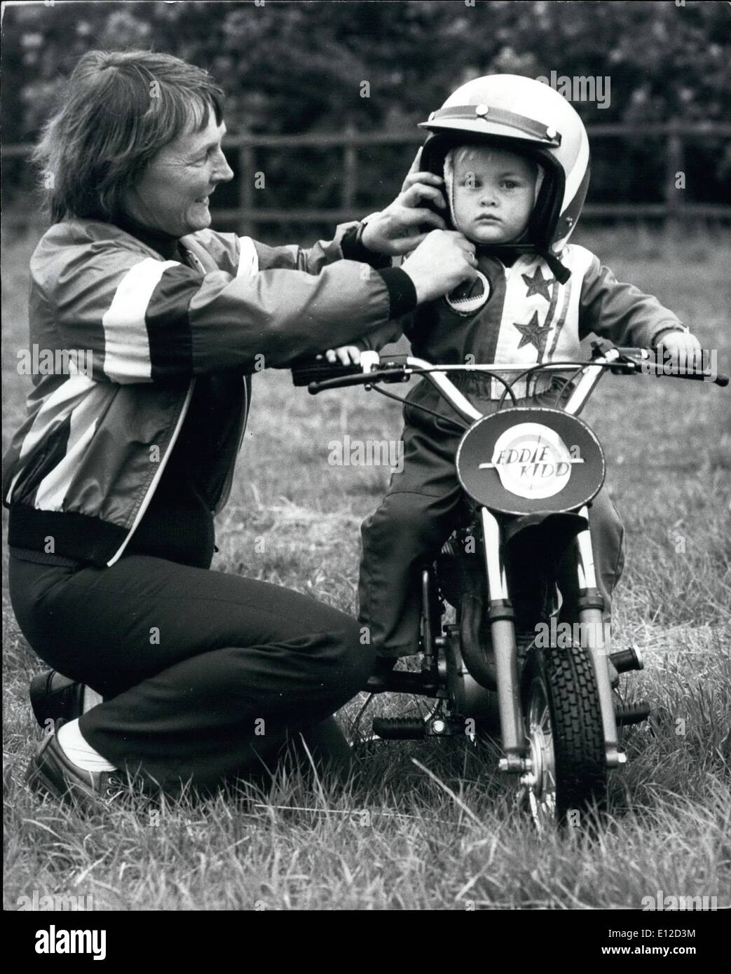 Dec. 19, 2011 - Bike stunts are kid's stuff at two – Watch out Eddie Kidd, you've got a rival. When little - Stock Image