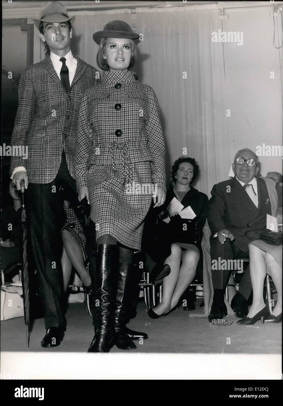 Dec. 19, 2011 - New Fashion Show For Men Under the admiring eye of author Marcel Achard, Pierre Cardin from Paris, presented his new collection for men for the coming season. OPS: For HIM and For HER, ensemble ''Air-France' - Stock Image