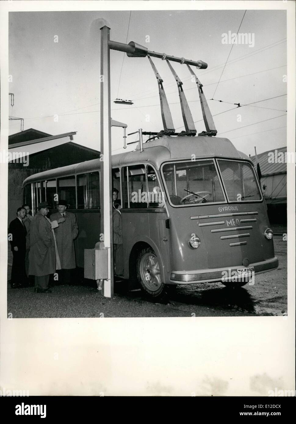 Dec. 19, 2011 - Traffic Exhibition Munich 1953 the Swiss firm Orlikoln invented the first bus of the world operated with fly-wheel energy. The gyrobus is charged with electrical energy every three kilometers by setting going a large swinging block which weighs 1.5 tons. This block then generates the electric current which drives the motor of the bus. The first gyrobus is to be taken into service in Switzerland in September 1953. - Stock Image
