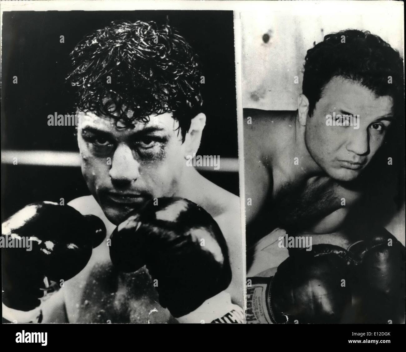 Dec. 15, 2011 - De Niro Is Middleweight Champion Of The World; In a new hard-hitting film called ''Raging Bull'', actor Robert De Niro play s the role of Prize fighter Jake La Motta, who in 1948, was proclaimed middleweight champion of the World in New York's Madison Square Garden. The role is based on the true life experience La Motta who has written an extraordinary autobiography about his rise to fame and fortune.his degeneration culminating in imprisonment, and fight back to a Worthwhile life - Stock Image