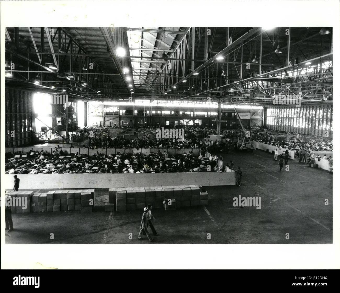 Dec. 15, 2011 - Interior of hanger used to house the newly arrived Cuban refugees at Key West until they could be transferred to other processing centers. - Stock Image