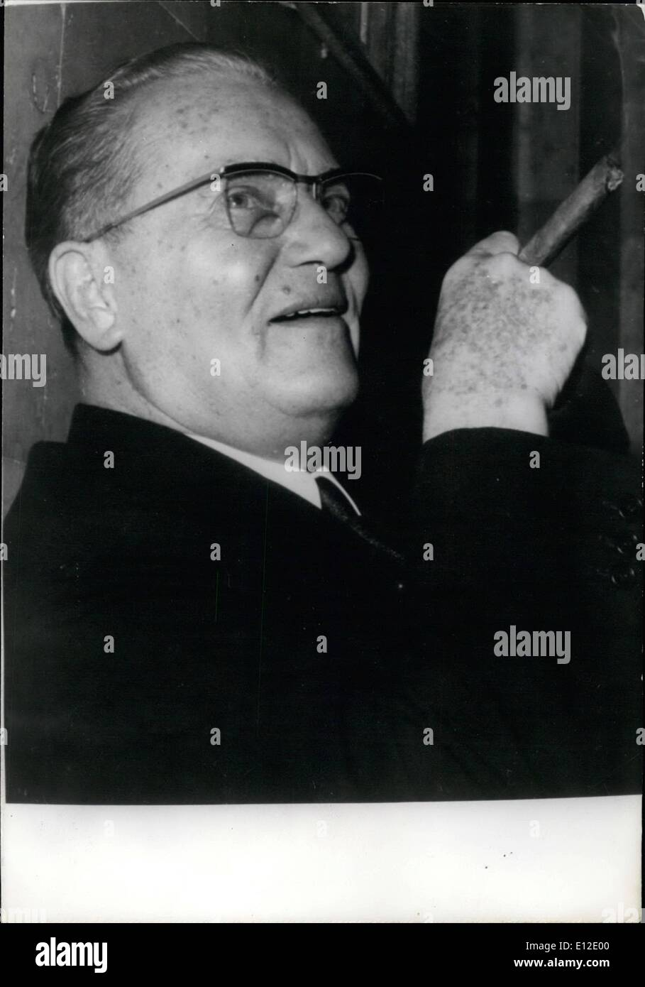 Dec. 15, 2011 - Tito celebrates 75th birthday. Marshal Tito is celebrating his 75th birthday tomorrow. OPS: One of the most recent pictures of Marshal Tito smoking a cigar. May 24th/67 - Stock Image