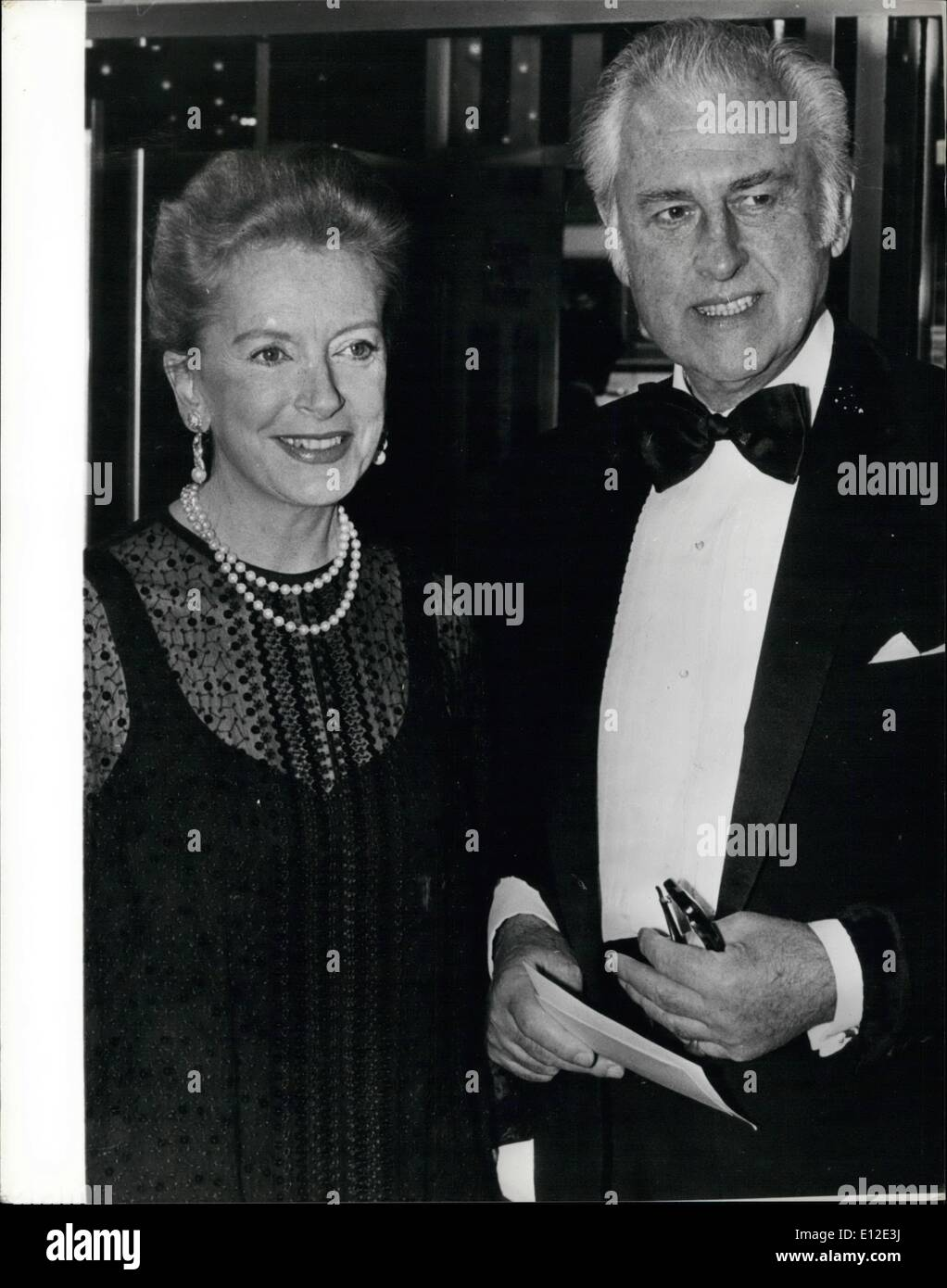 Dec. 20, 2011 - Stewart Granger & Deborah Kerr at Royal Film Première A galaxy of stars were present at last night's Royal Film Performance of ''Kramer vs Kramer'' which was shown in the presence of the Queen and Prince Phillip. Among the guest celebrities were Stewart Granger and Deborah Kerr. Photo Shows:- Stewart Granger and Deborah Kerr at last night's première at the Odeon, Leicester Square. - Stock Image