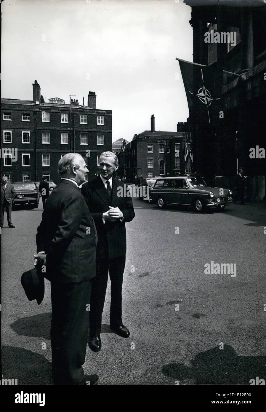 Dec. 15, 2011 - Nato Ministerial Meeting london, May 11-13, 1965 in Front Of Lancaster House: Before the Council meeting in Lancaster House the French Foreign minister, mr. Couve de Murville, talking to Mr. Salwyn Lloyd. - Stock Image