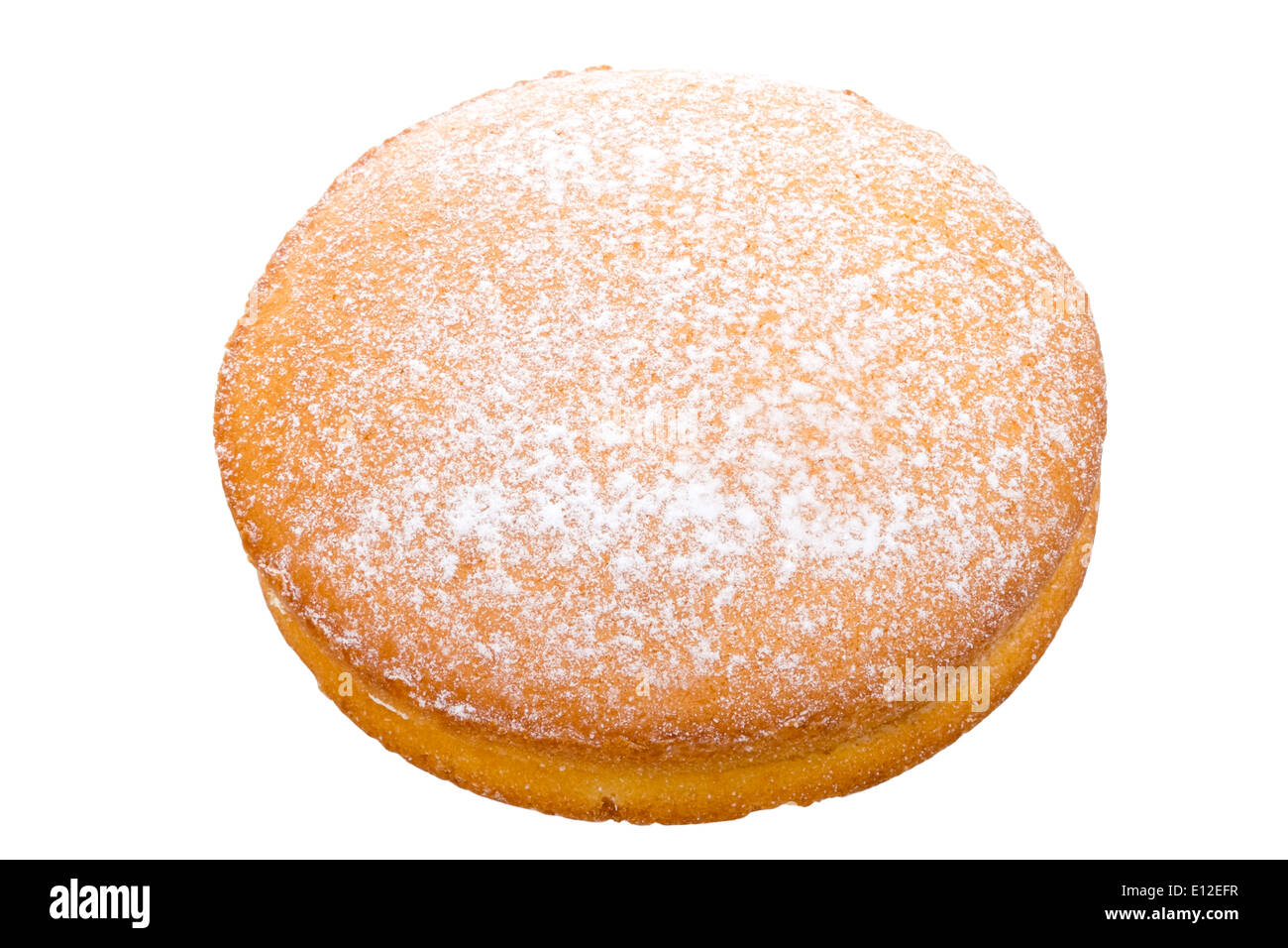 Victoria sponge cake shot from above & cut out against a white background. - Stock Image