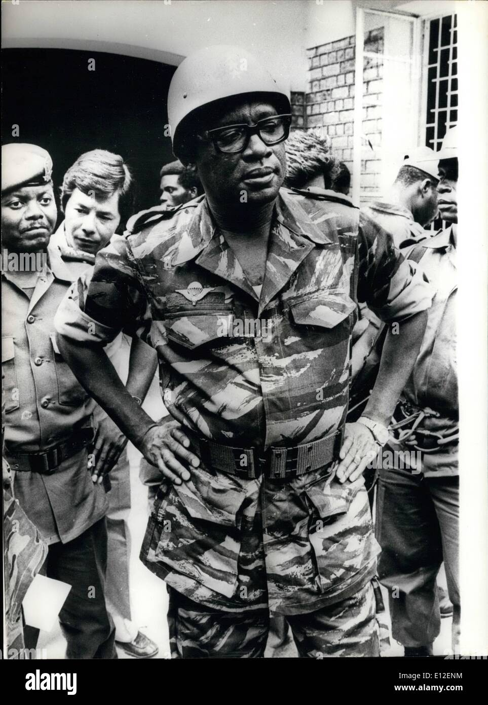 Dec. 21, 2011 - President Mobutu Meets His Allies - President Mobutu of Zaire paid a visit to his mixed force of Zairean and Moroccan troops on the outtakirts of Mutenhatahe, dressed in a para outfit. - Stock Image