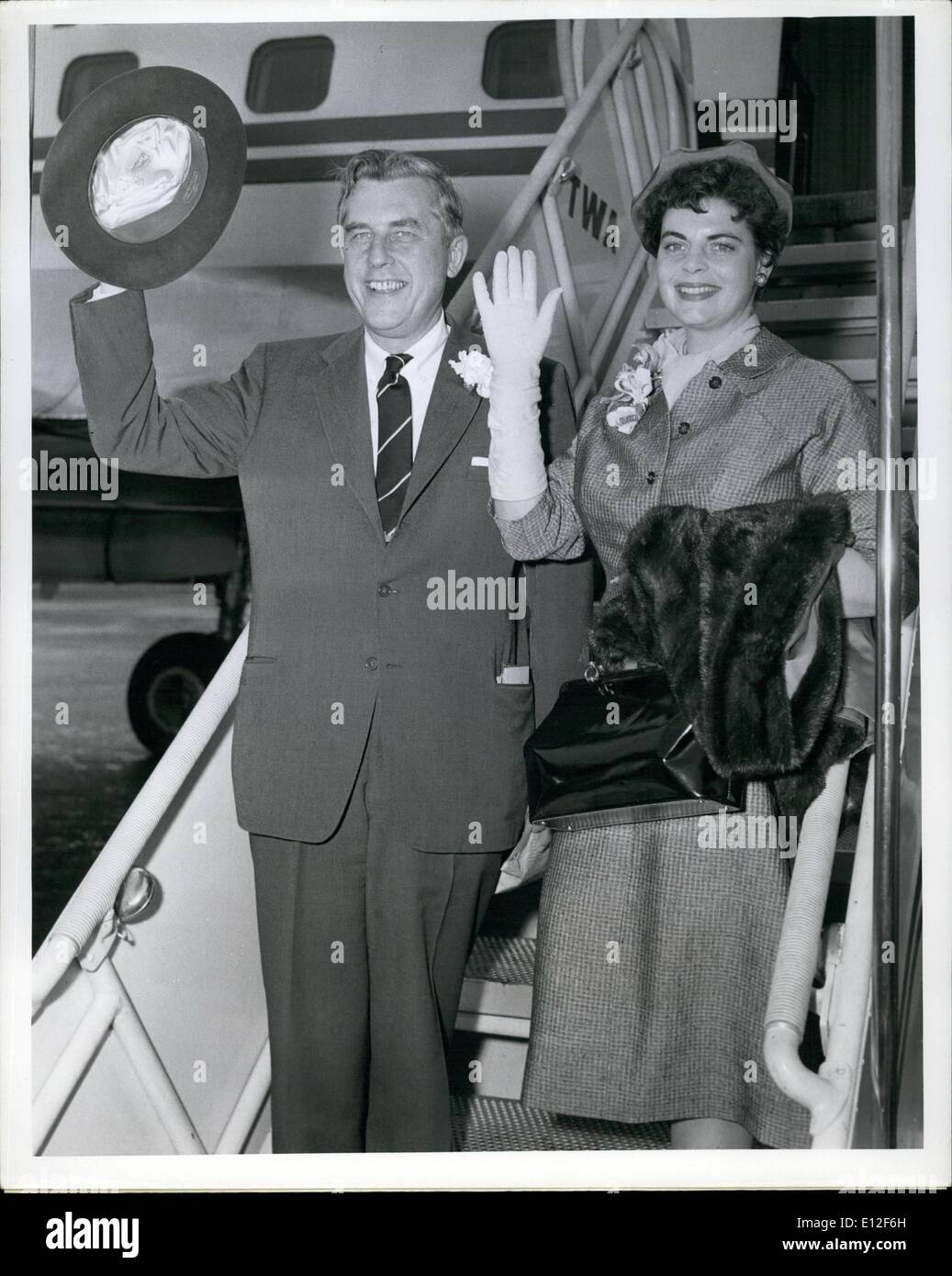 Dec. 21, 2011 - New York International Airport- April 23 -- Governor and Mrs. Robert Meyner of New Jersey Left today on a TWA super-G Constellation for London on the first leg of a two-weeks visit to Europe. They will visit Ireland, France, Holland and the Brussels fair Before flying home from London on May 7. - Stock Image