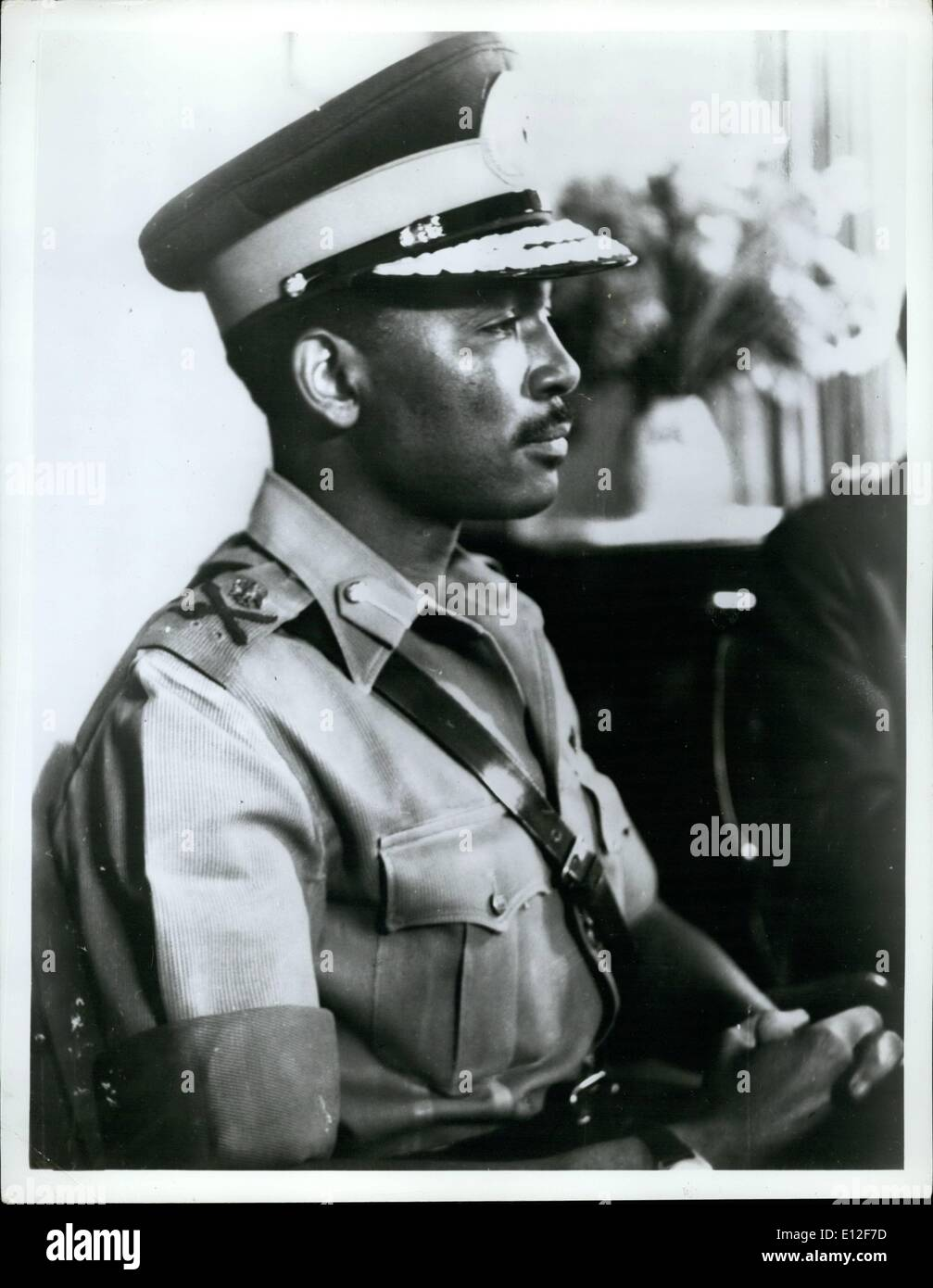Dec. 21, 2011 - The Nigerian Federal Ministry of Defense announced on June 1st, 1967 the promotion of Lt. Col. Yakubu Gowon to the rank of the Major General. He is commander-in-Chief of the Federal Nigerian Army. Maj. Gen. Gown is shown here in his new uniform. - Stock Image