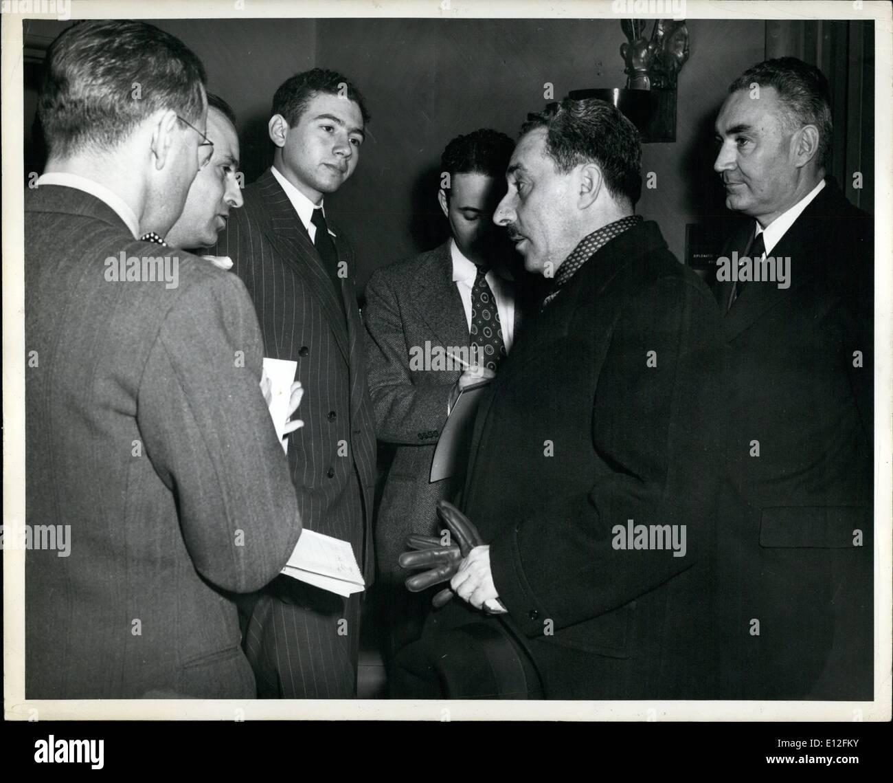 Jan. 09, 2012 - Sharett Foreign Sec. of Israel - Stock Image