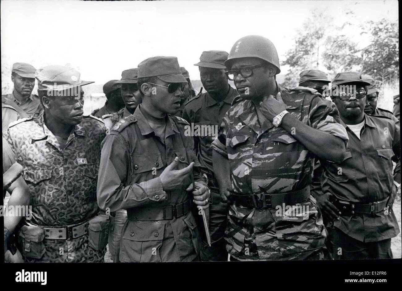 Jan. 09, 2012 - ZAIRE: (Near Mutshatsha). President Mabutu chats with Commander of the Moroccan troops Col Loubaris. - Stock Image