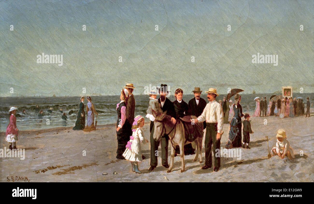 Children on the Beach ca. 1879-1881 Samuel S. Carr Inglaterra 1837 Brooklyn1908 American United States of America USA - Stock Image
