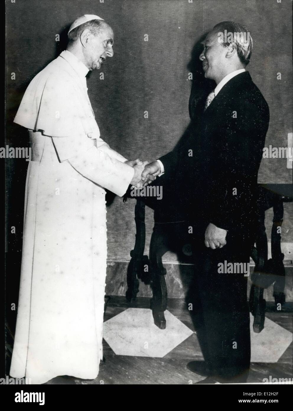Jan. 03, 2012 - South Vietnam Nguyen Van Thieu was received by the Pope Paul VI during a audience this morning in the Vatican. - Stock Image