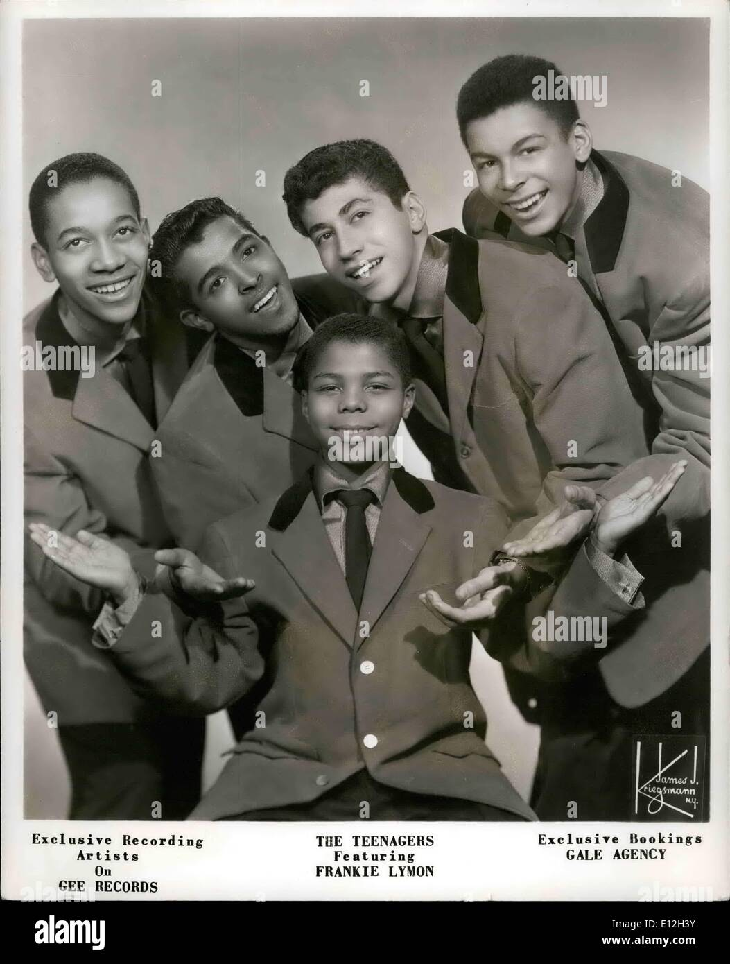 Jan. 03, 2012 - Exclusive Recording Artists On Gee Records The Teenagers Featuring Frankie Lymon Exclusive Bookings Gale Agency - Stock Image