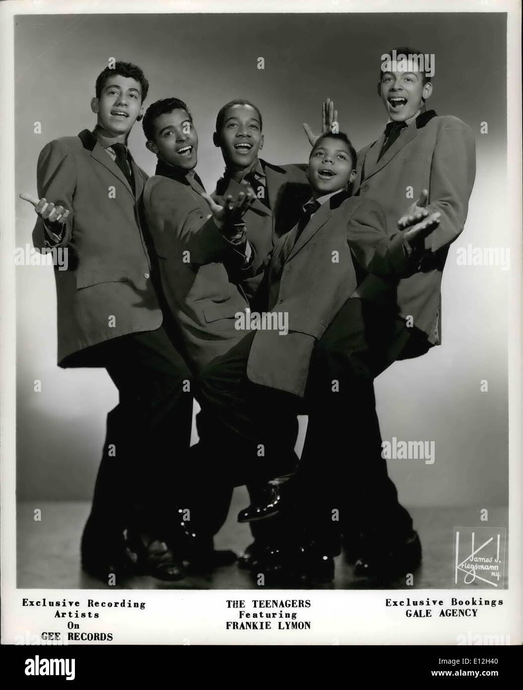 Jan. 03, 2012 - Exclusive Recording Artists On Gee Records The Teenagers Featuring Frankie Lymon Exclusive Booking s Gale Agency - Stock Image