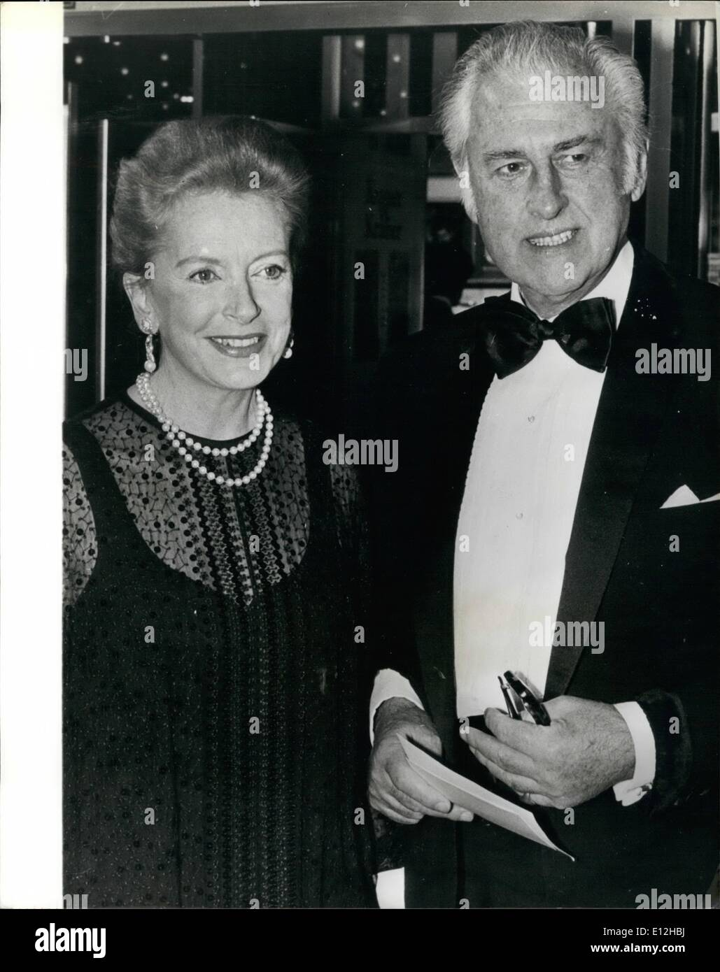 Jan. 03, 2012 - Stewart Granger and Deborah Kerr at Royal Film Premiere. A galaxy of stars were present at last night's Royal Film Performance of ''Kramer Vs Kramer'' which was shown in the presence of the Queen and Prince Philip. Among the guest celebrities were Stewart Granger and Deborah Kerr. Photo Shows: Stewart Granger and Deborah Kerr at last night's premiere at the Odeon, Leicester Square. - Stock Image