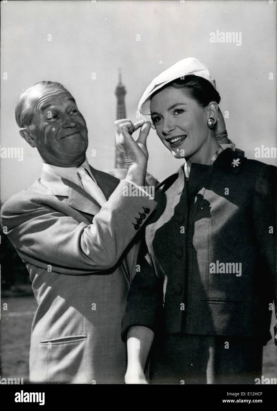 Jan. 04, 2012 - Maurice Chevalier Partner of Deborah Kerr. French famous actor Maurice Chevalier will be the partner of famous English Actress Deborah Kerr in the film ''Mon Cher Ange'' (My Dear Angel), Realisation Jean Negulesco. NPM: Maurice Chevalier with lovely Deborah Kerr wearing a cap, in Paris. - Stock Image