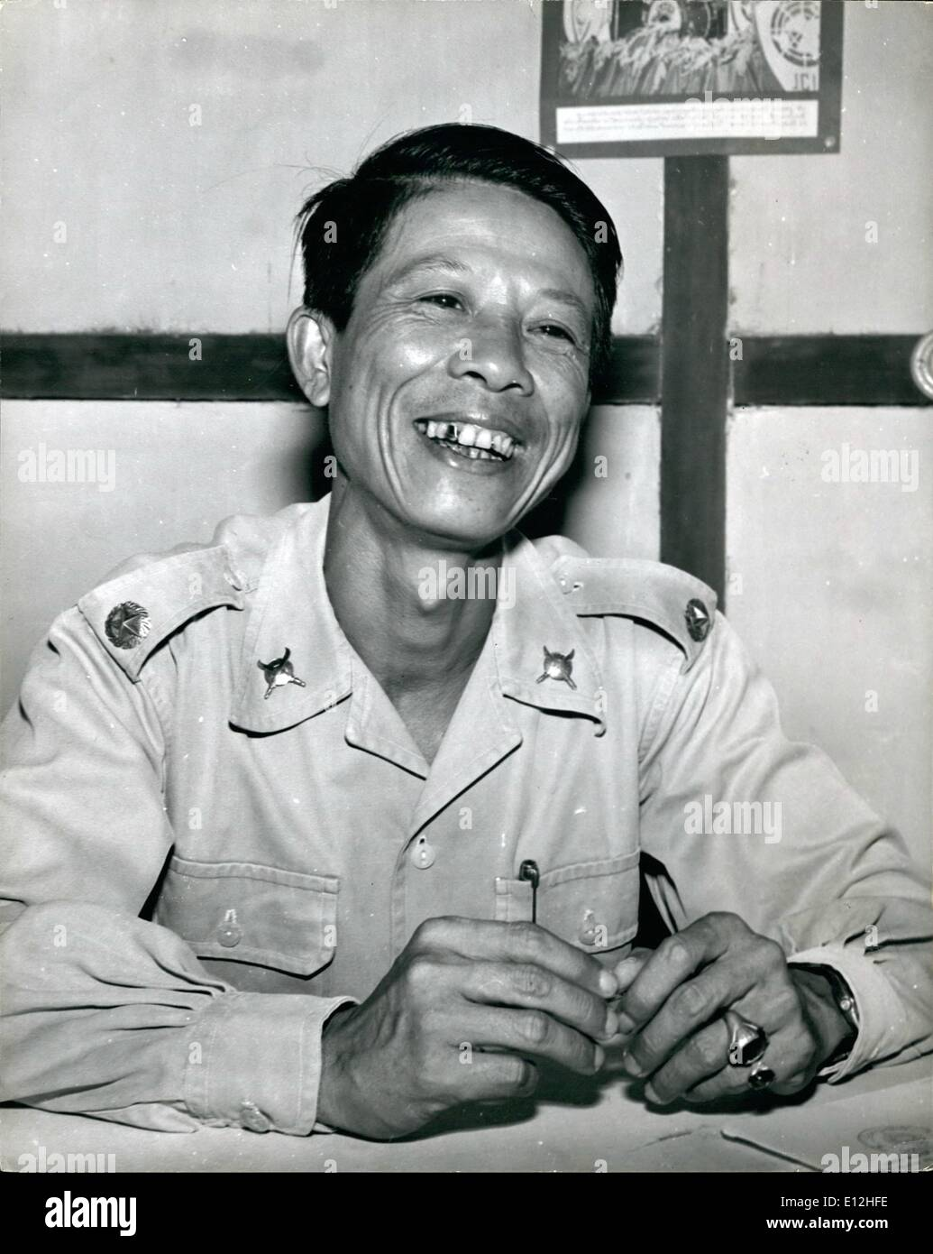 Feb. 24, 2012 - New Commander Of Pathet Lao Forces: Major Sa Sanith, new commander of Pathet Lao forces in Xieng Ngun, who was appointed from the Government forces. He took up his command on May 12. He has been in the Army for the past 18 years, first with the French. - Stock Image