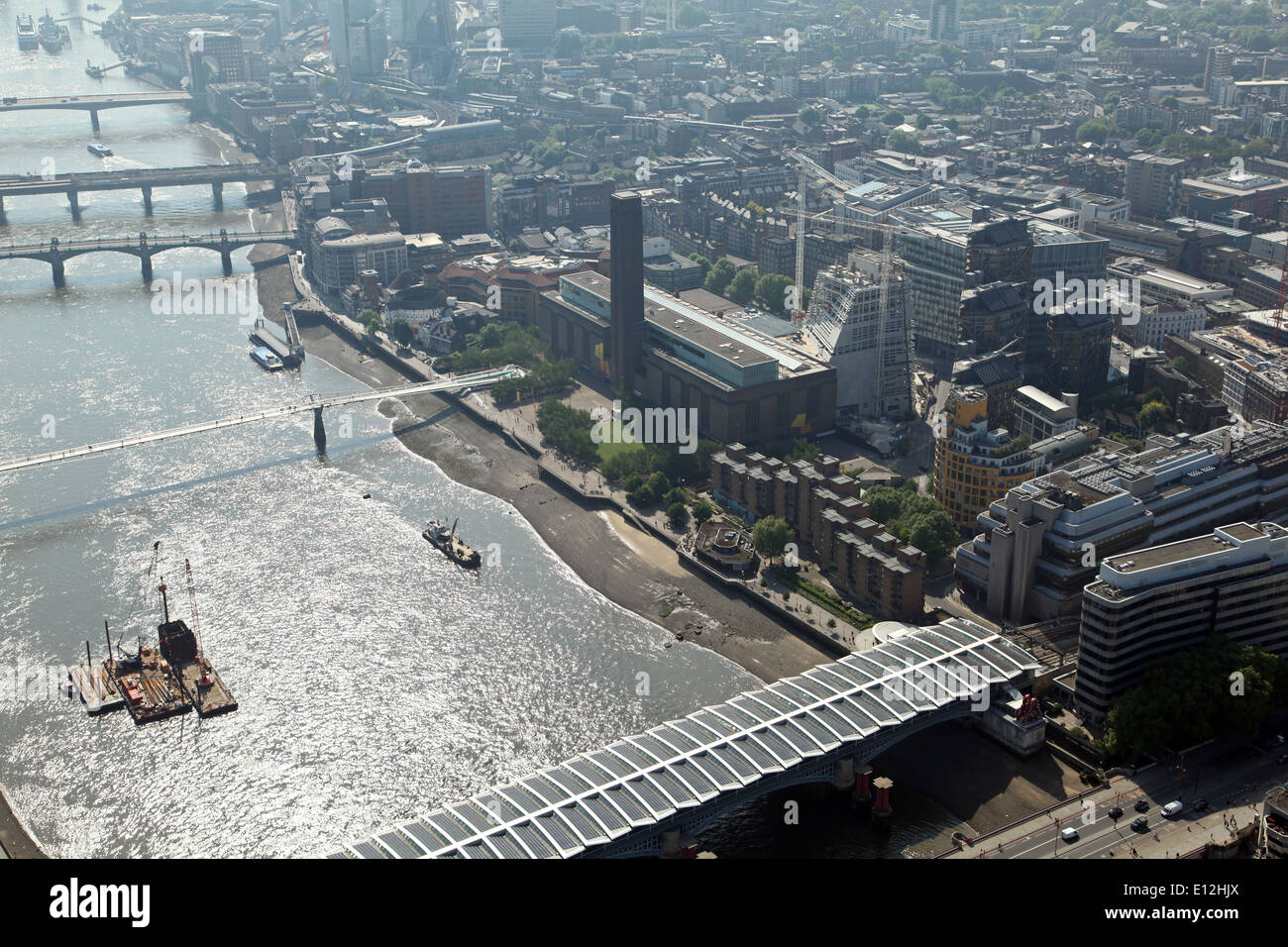 aerial view of Tate Modern and the River Thames, London, UK - Stock Image
