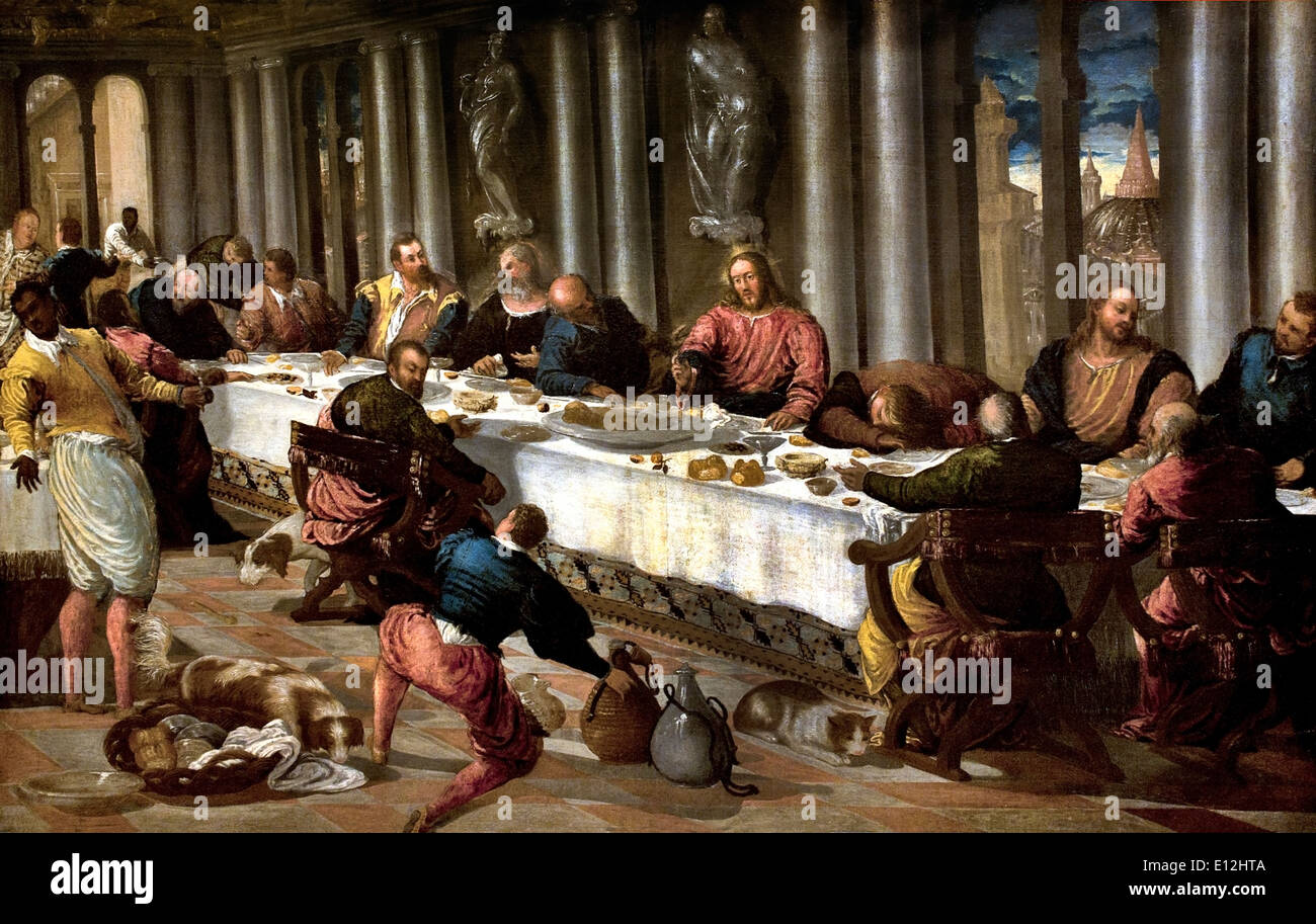 The Last Supper ca. 1570 Anonymous Venetian Artist Italy Italian - Stock Image