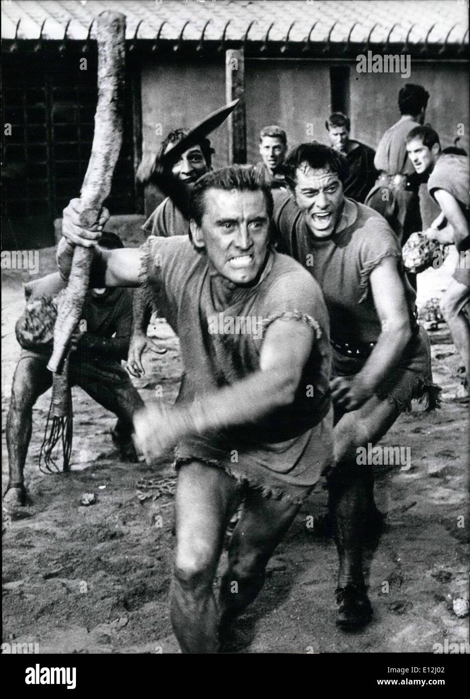 Feb. 24, 2012 - Riot of the slaves. Kirk Douglas plays the part of gladiator Spartacus in the latest Hollywood monster film Spartacus based on the novel by Howard Fast. Spartacus was the leader of the greatest slave riot of the Roman Emperium. This film about him is to be the greatest thing ever made about this story. Keystone Photo, 6-12-60 - Stock Image