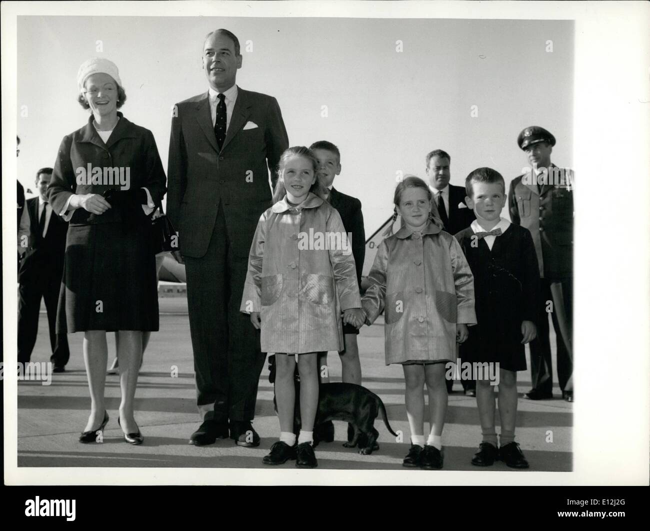 Jan. 09, 2012 - Mr G. Frederick Reinhardt arrived to assume his United States Ambassador to Italy. He was accompanied by Mrs Reinhardt and his four children; George Frederick Anna Aurelia, Charles Henry and Catherine Jane. - Stock Image