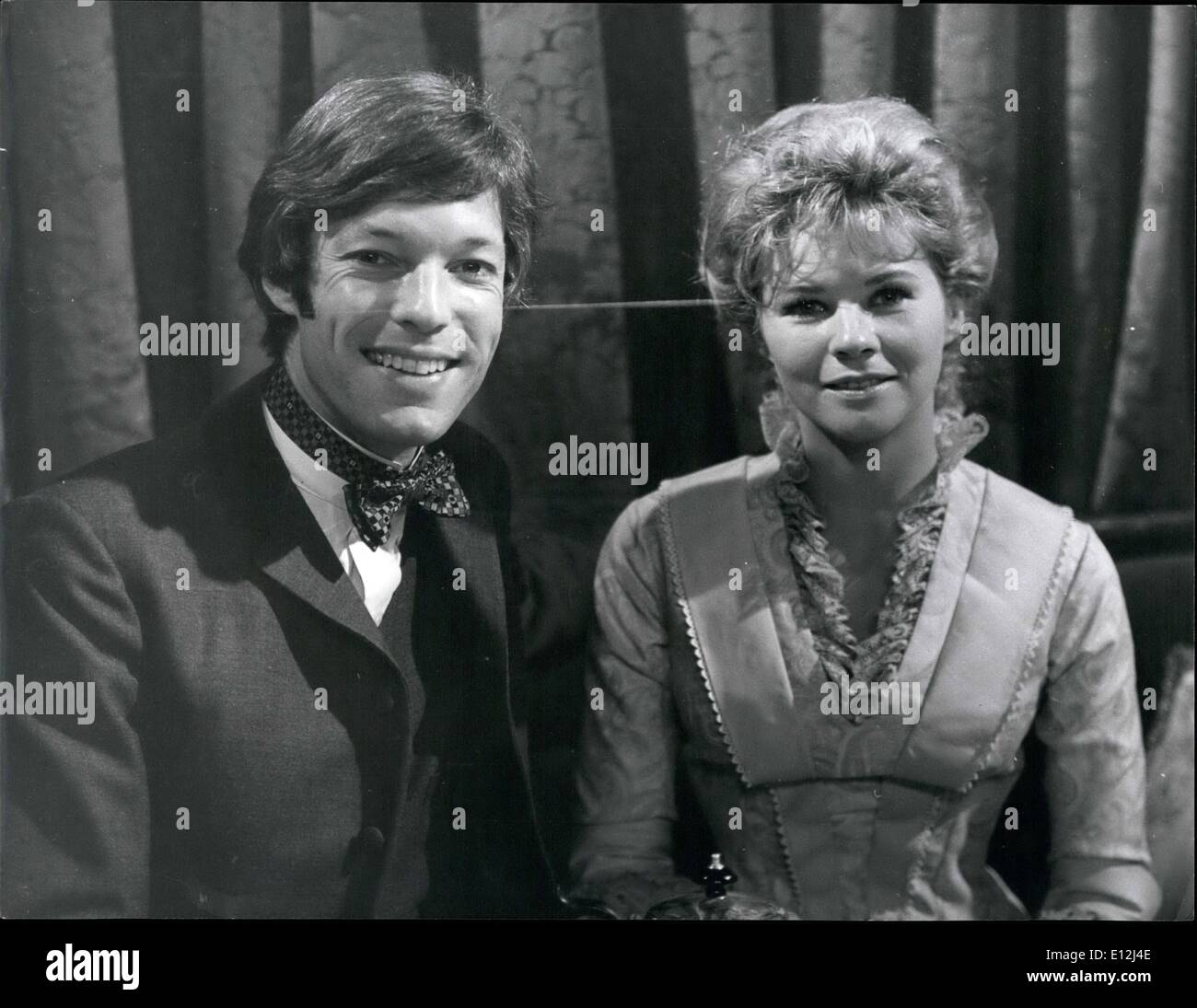 Feb. 24, 2012 - A Tonic for Dr. Kildare. it only takes a glance to diagnose that Richard Chamberlain is at last breaking away from the clean-cut, short-haired , all-American boy image of his Dr. Kildare series. His hair, once so neat now curls slightly onto his collar - the crisp white coat is replaced by Regency-style clothes. The reason - Richard Chamberlain is playing in a six part B.B.C - Stock Image