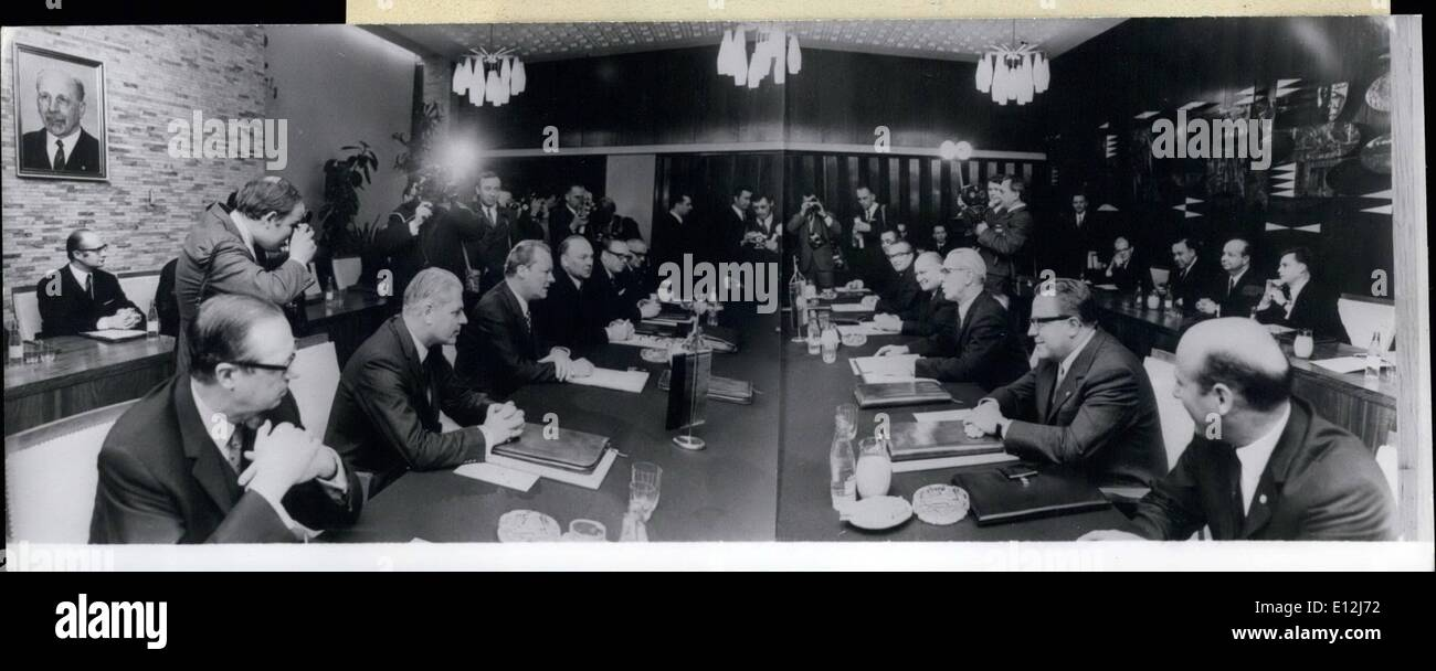 Feb. 24, 2012 - Meeting of Willy Brandt, the Chancellor of the Federal Republic of Germany and Willi Stoph, the Minister President of the German Democratic Republic in Erfurt on March 19th, 1970: right row: the delegation of the German Democratic Republic: (from r. to l.) Dr. Hans VoB, departmental chief in the Ministry for Foreign Affairs; Dr. Michael Kohl, State Secretary in the Cabinet Council of the GRD, Otto Winzer, Minister for Foreign Affairs; Gunther Kohrt, State Secretary in the Ministry for Foreign Affairs; Dr - Stock Image