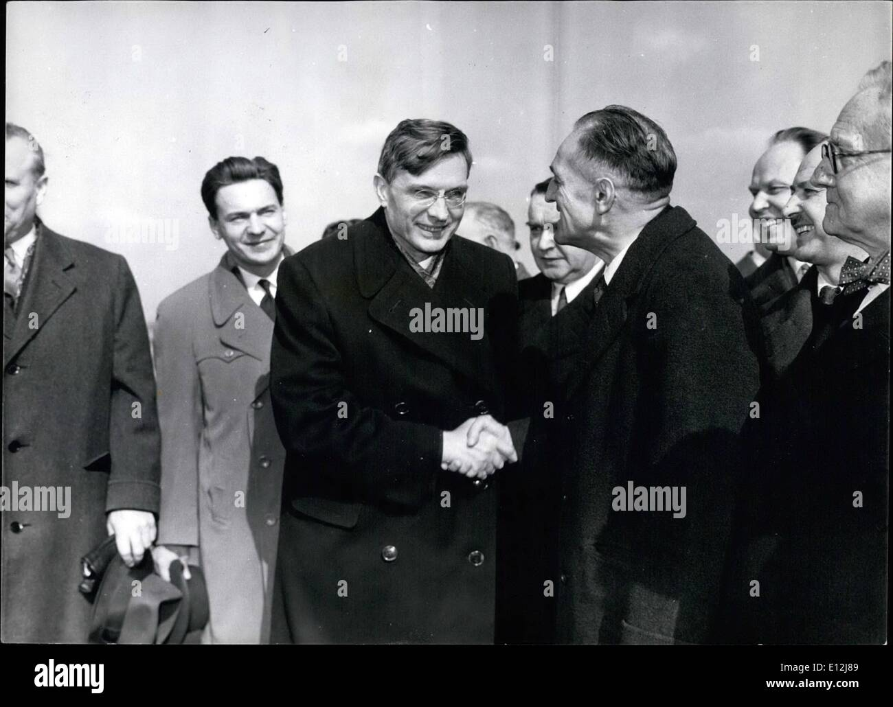 Feb. 24, 2012 - Photo Shows Mr. Julius Silverman (right) greets Mr. Michael Suslov, chairman of the Foreign Affairs Committee of the Soviet Presidium when he arrived with his party at London Airport today. - Stock Image