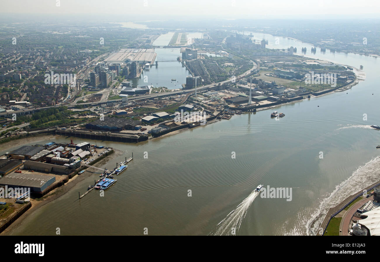aerial view of London City Airport and the River Thames, London, UK - Stock Image