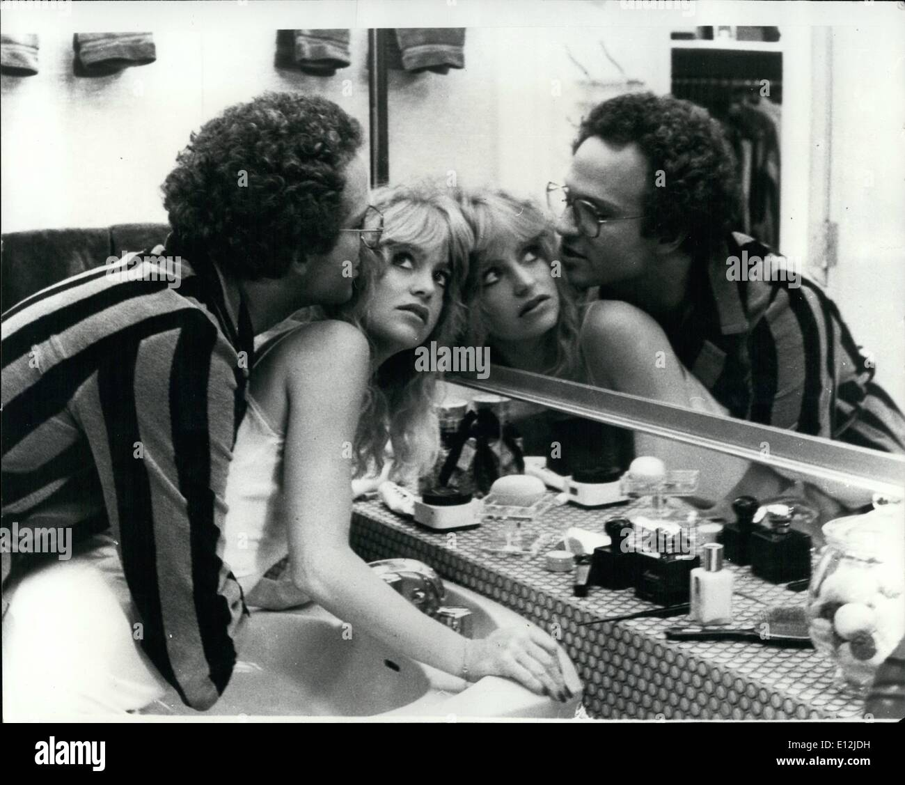 Feb. 24, 2012 - Goldie marries the man of her dreams. Blonde, radiant, vivacious Goldie Hawn, is seen being married to Albert Brooks, the man of her dreams. But, alas, her bliss is to end only hours later. Her new husband dies on their wedding night. The tragic plot is the surprise start to Goldie's latest film. The picture described as a sophisticated social comedy is called Private Benjaminà - Stock Image