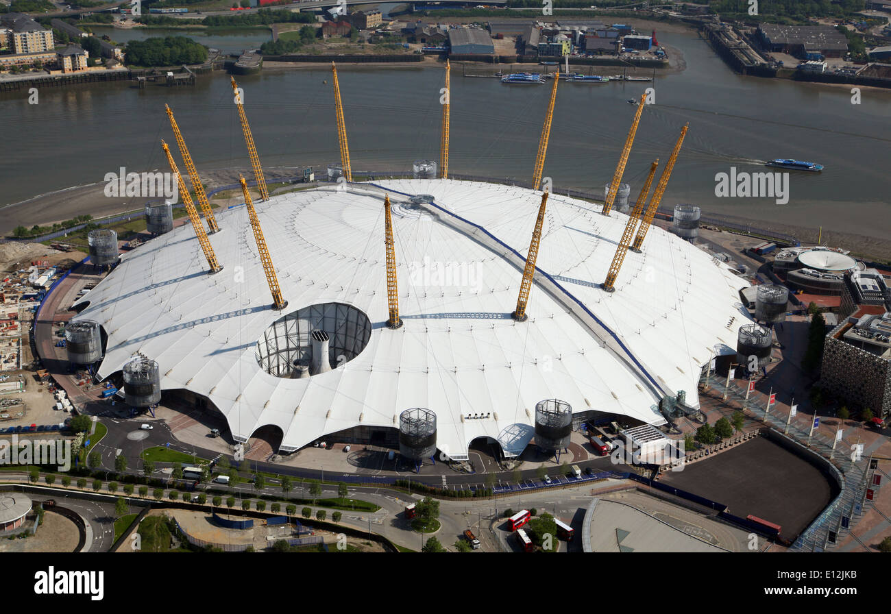 aerial view of the O2 arena (formerly The Millennium Dome) in Greenwich, London, UK - Stock Image
