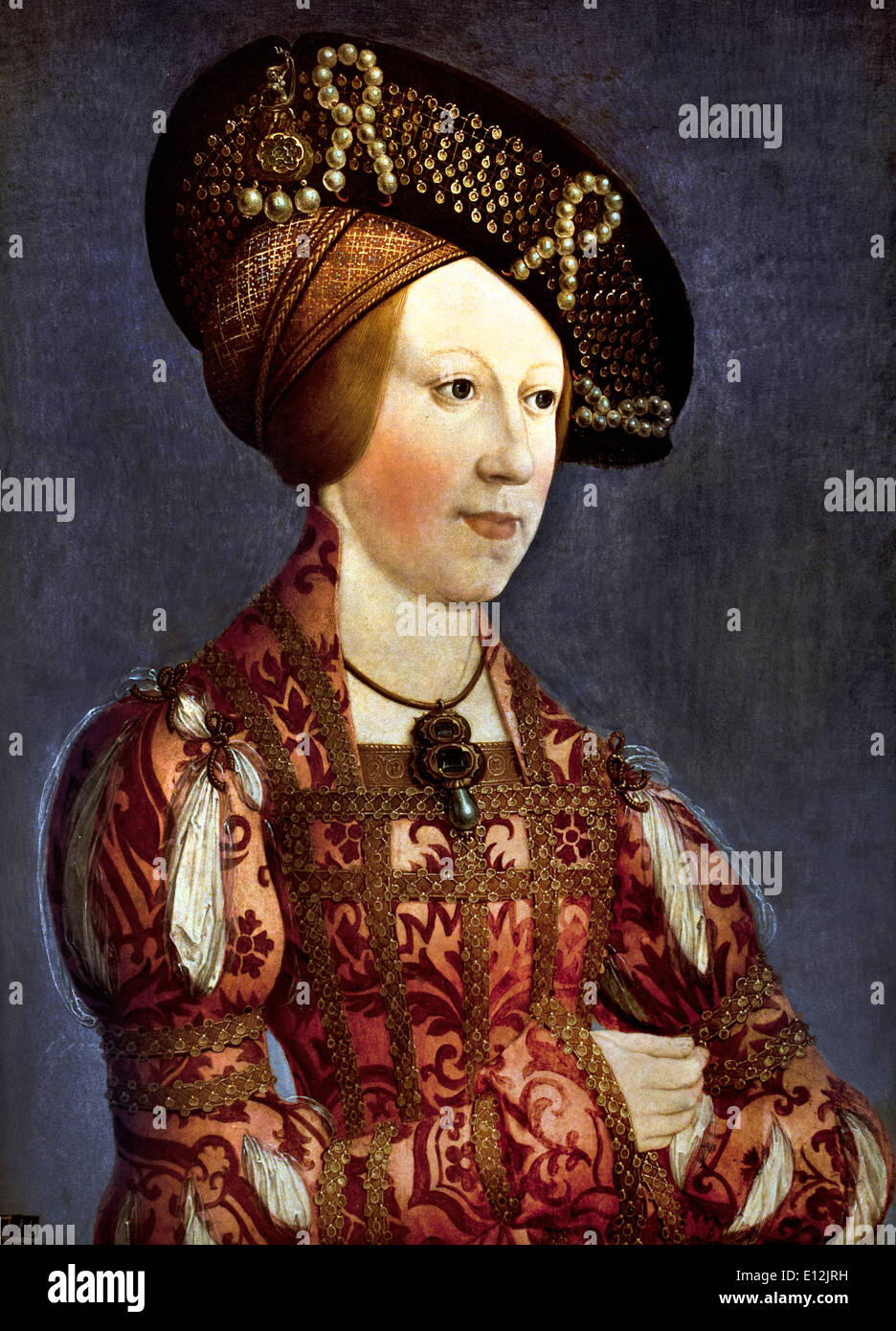 Portrait of Anne of Hungary and Bohemia 1519  by  Hans Maler German 1480-1526 ( Queen consort of the Romans Bohemia Hungary ) - Stock Image