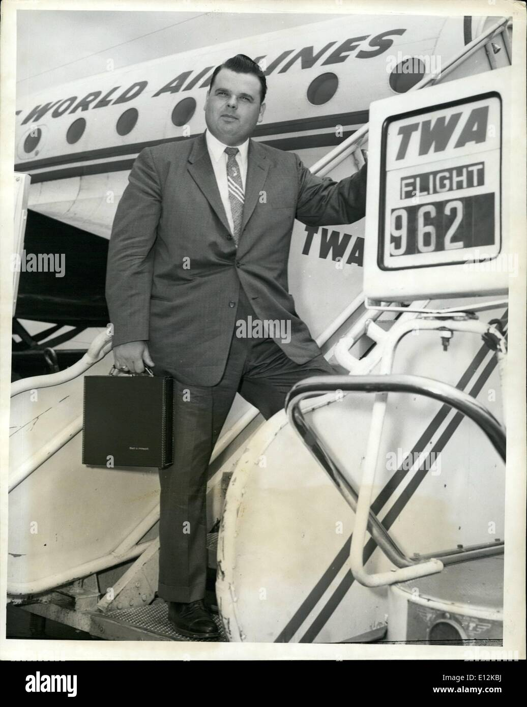 Feb. 24, 2012 - Idlewild Airport, May, 4 -- Dr: Dr. Billy James Hargis,, Famed Oklahoma Evangelist, Left VIA TWA Stock Photo