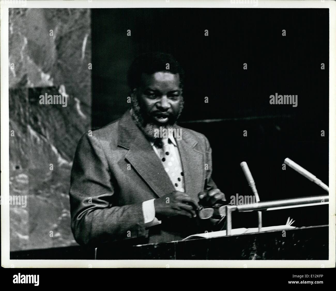 Feb. 24, 2012 - The United Nations 9th Special General Assembly continued its debate on the question of Namibia. Sam Nujoma, President of SWAPO (South West African Peoples Organization) stated the position of SWAPO after the agreement of South Africa to the Western proposal to the Namibia problem. New York, April 28, 1978 - Stock Image