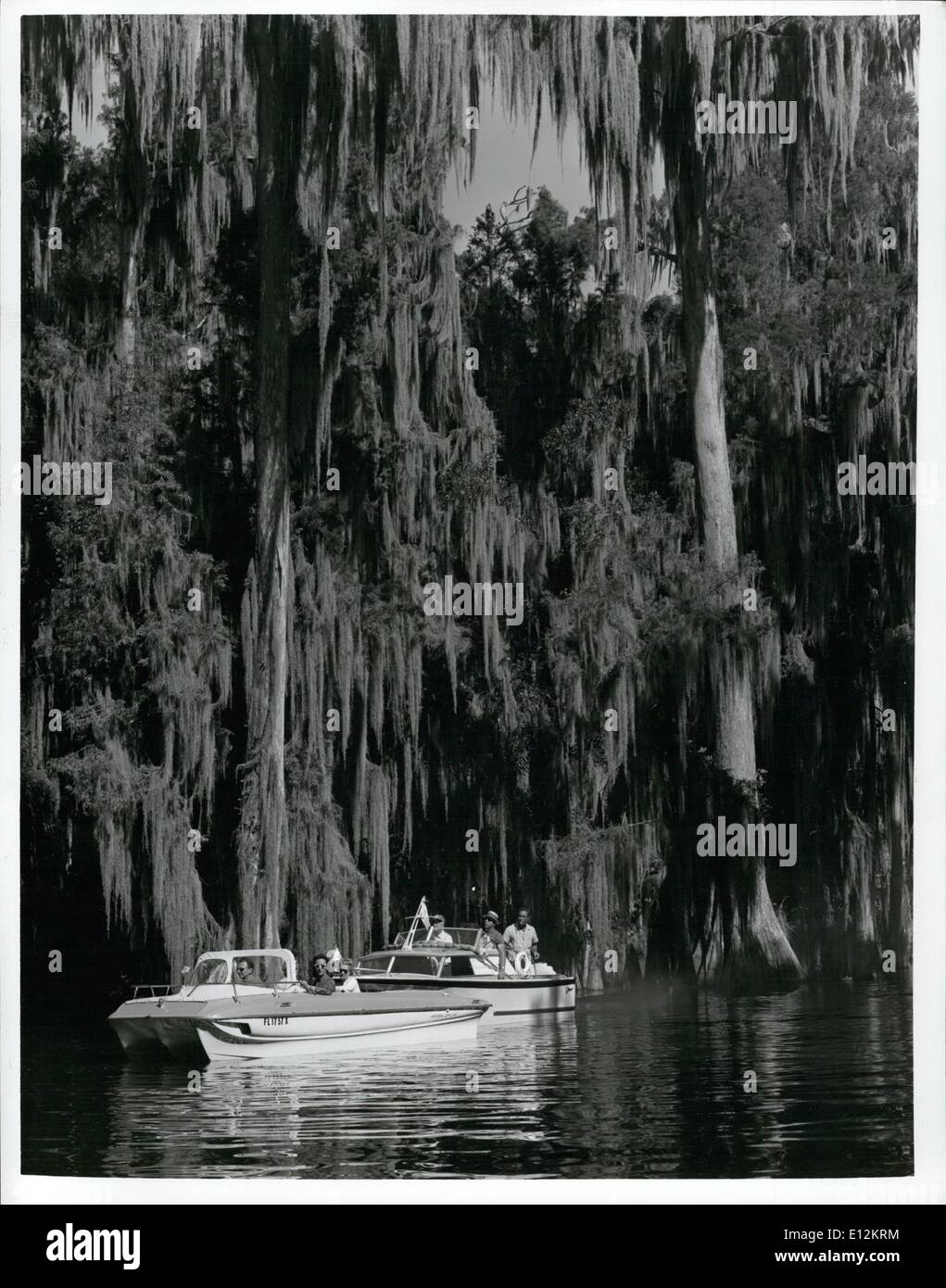Feb. 24, 2012 - The lush beauty of moss-draped trees adds to the pleasure of boating on Florida waterways. - Stock Image
