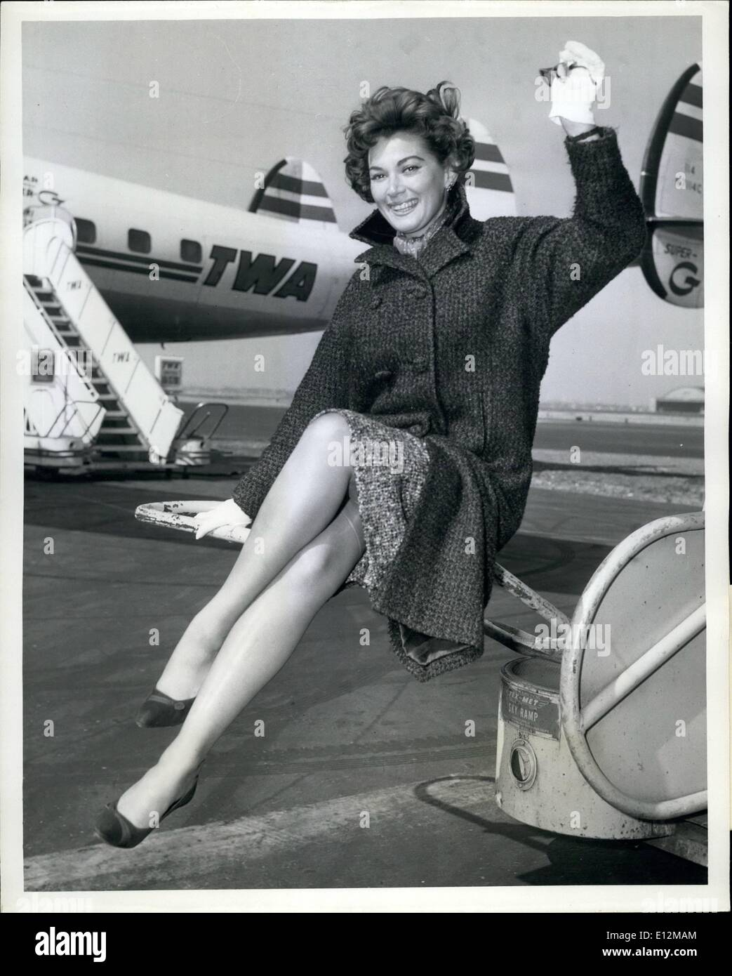 Feb. 24, 2012 - Idlewild Airport, N.Y., -- Lovely TV Actress Doris wiss saddens the heart of New Yorkers by leaving Stock Photo
