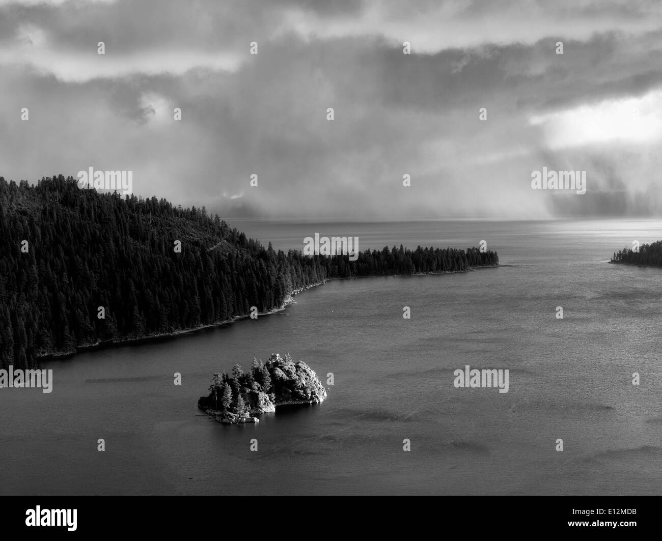 Storm with rain over Emerald Bay and Fannette Island. Lake Tahoe, California. - Stock Image